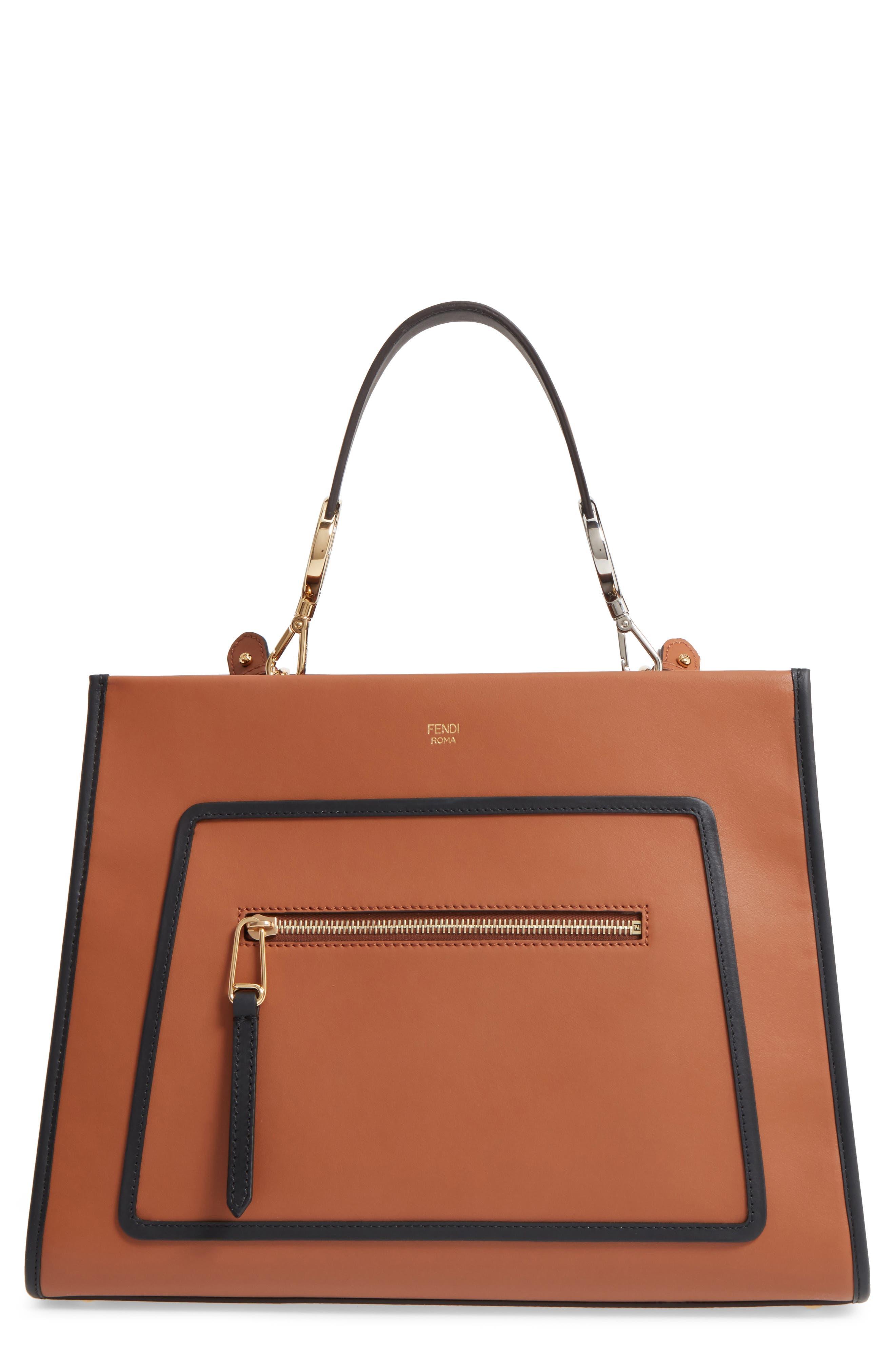 Runaway Medium Leather Tote Bag,                         Main,                         color, Brown