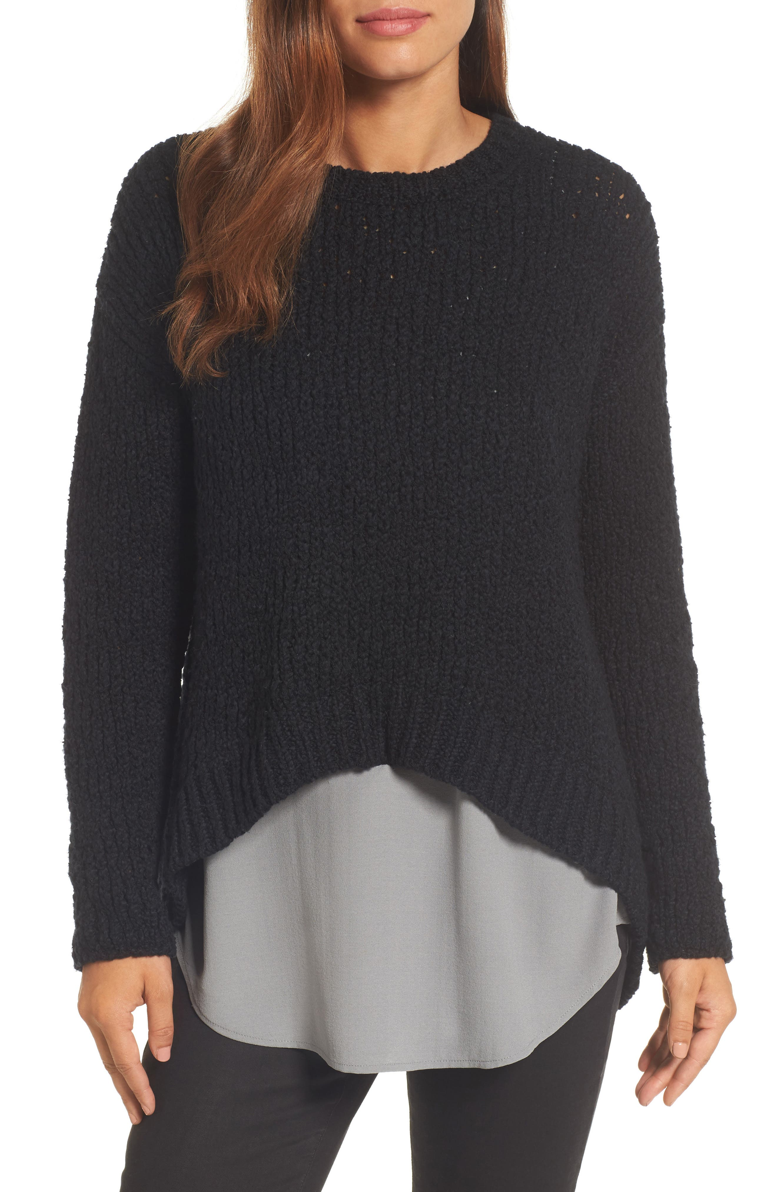High/Low Organic Cotton Sweater,                             Main thumbnail 1, color,                             Black
