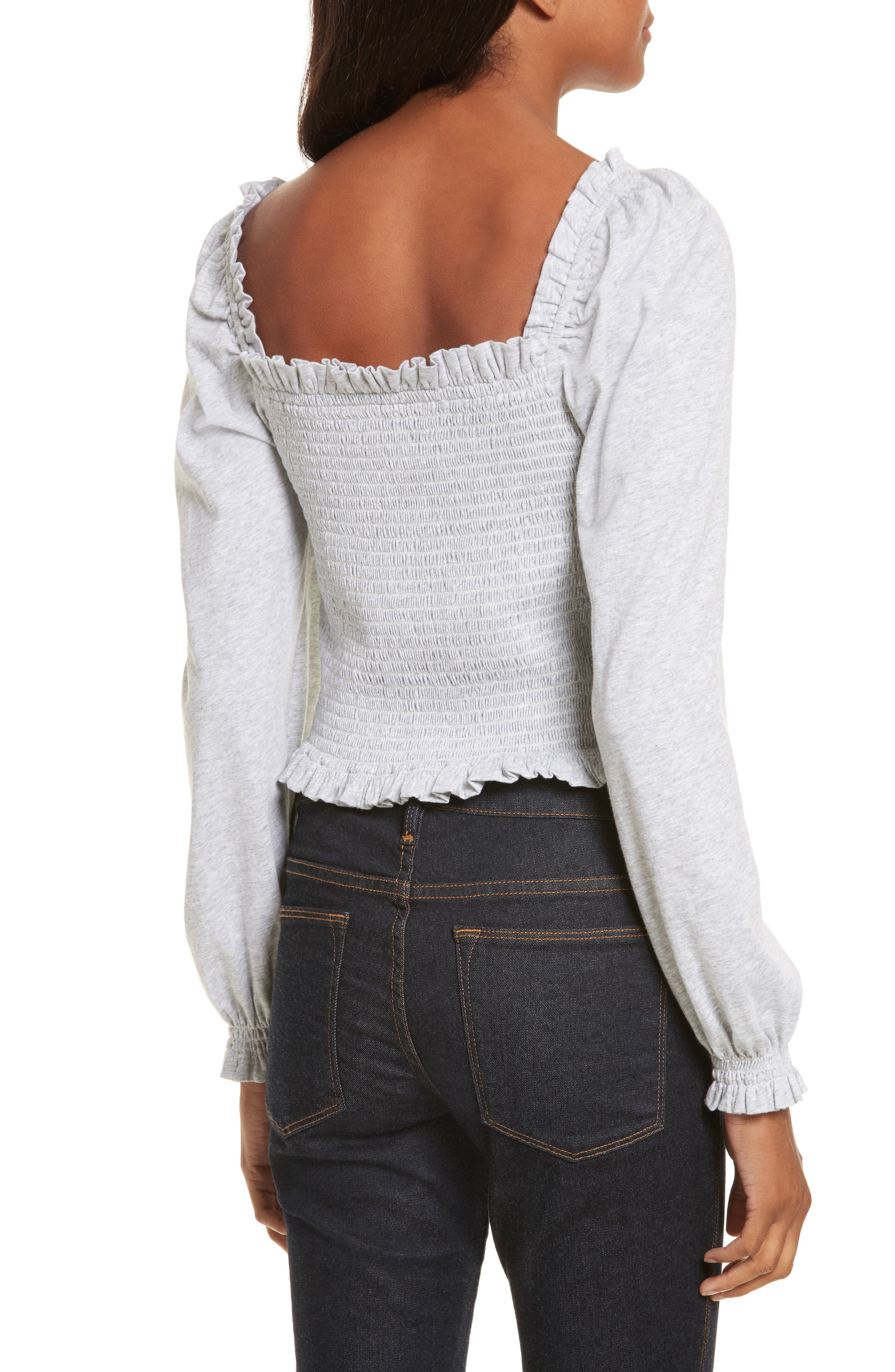 Smocked Crop Jersey Top,                             Alternate thumbnail 2, color,                             Heather Grey