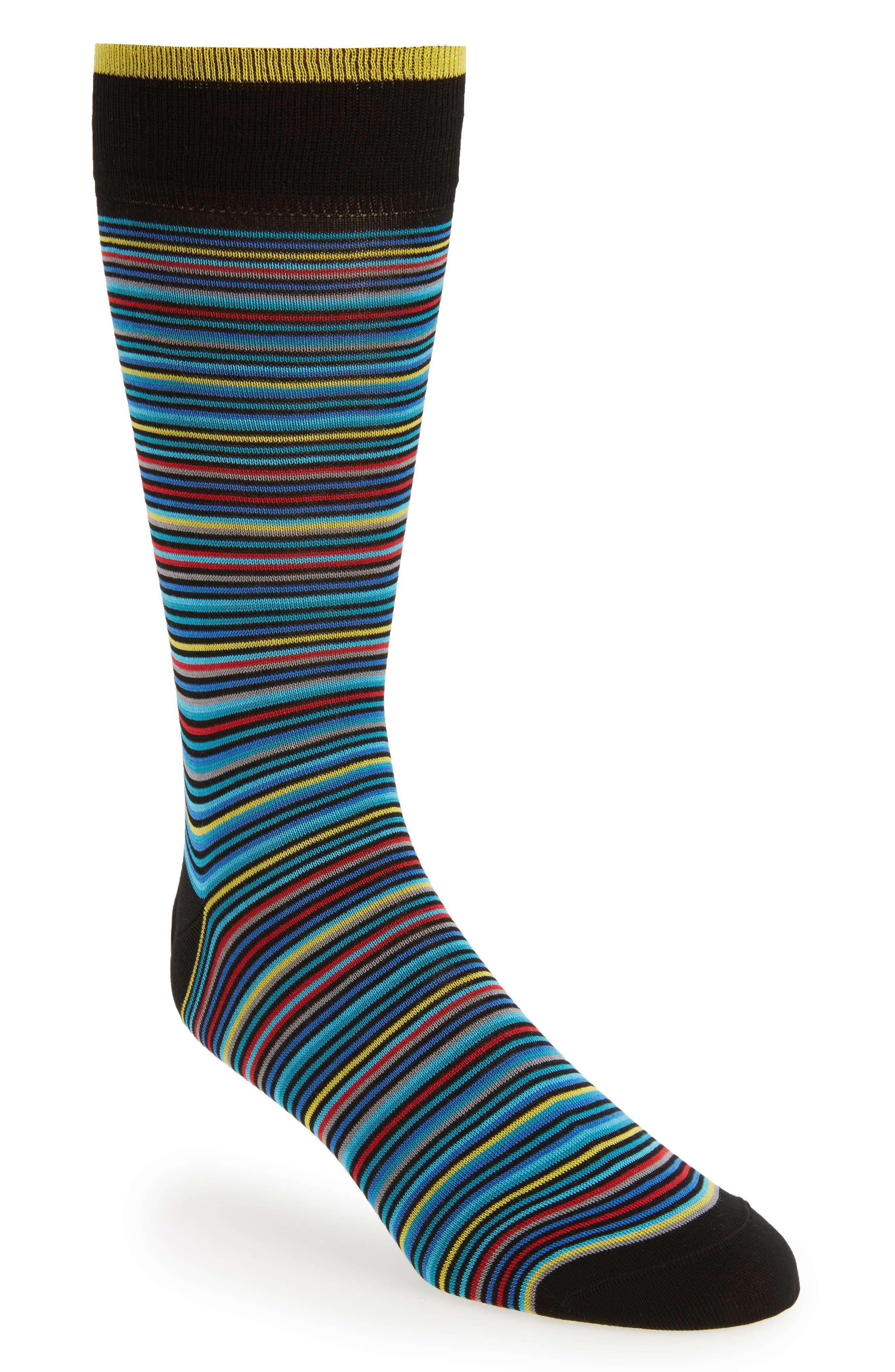 Stripe Crew Socks,                             Main thumbnail 1, color,                             Black Multi