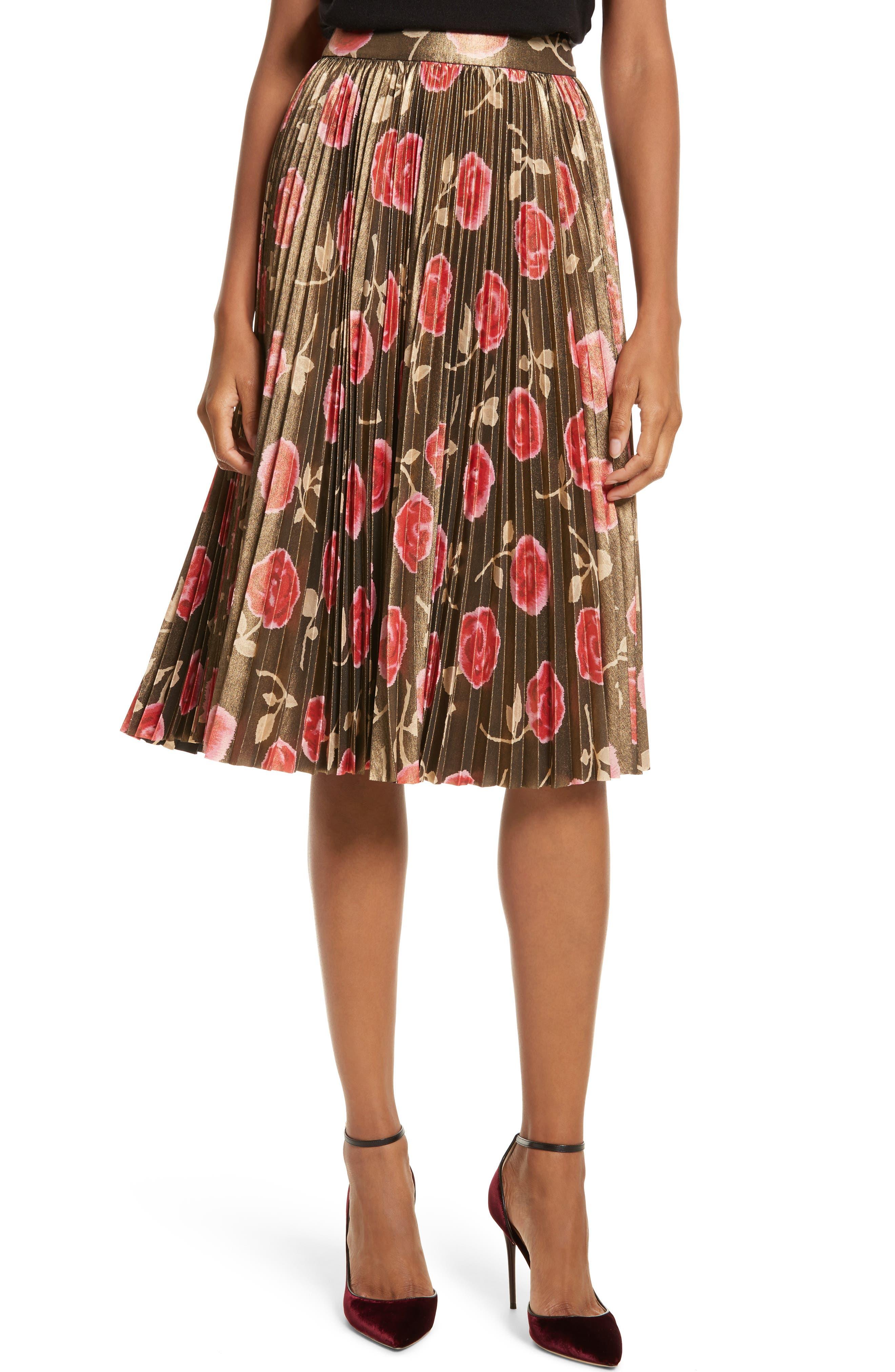 hazy rose pleated metallic skirt,                         Main,                         color, Black Multi