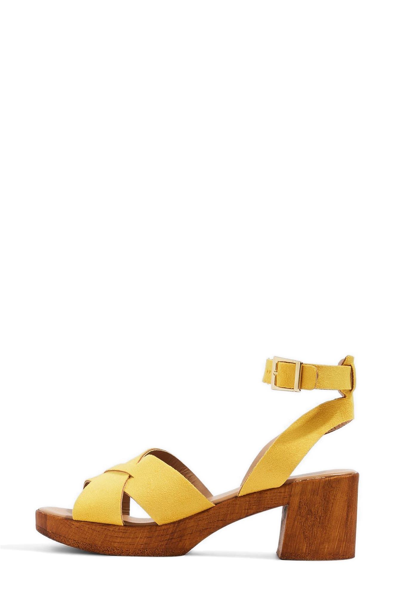 Dolly Block Heel Sandal,                             Alternate thumbnail 3, color,                             Yellow