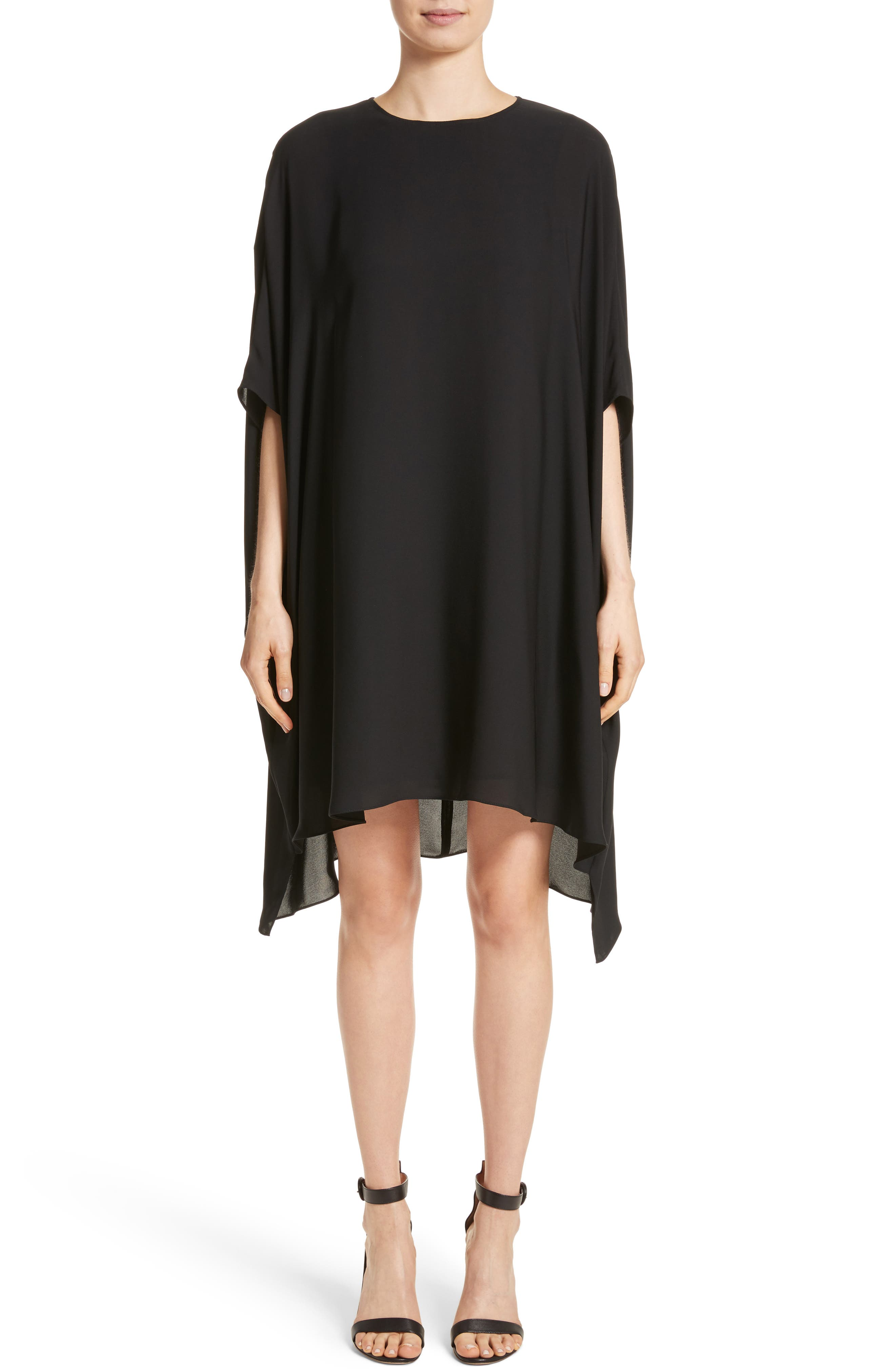 Double Silk Georgette Draped Dress,                             Main thumbnail 1, color,                             Caviar