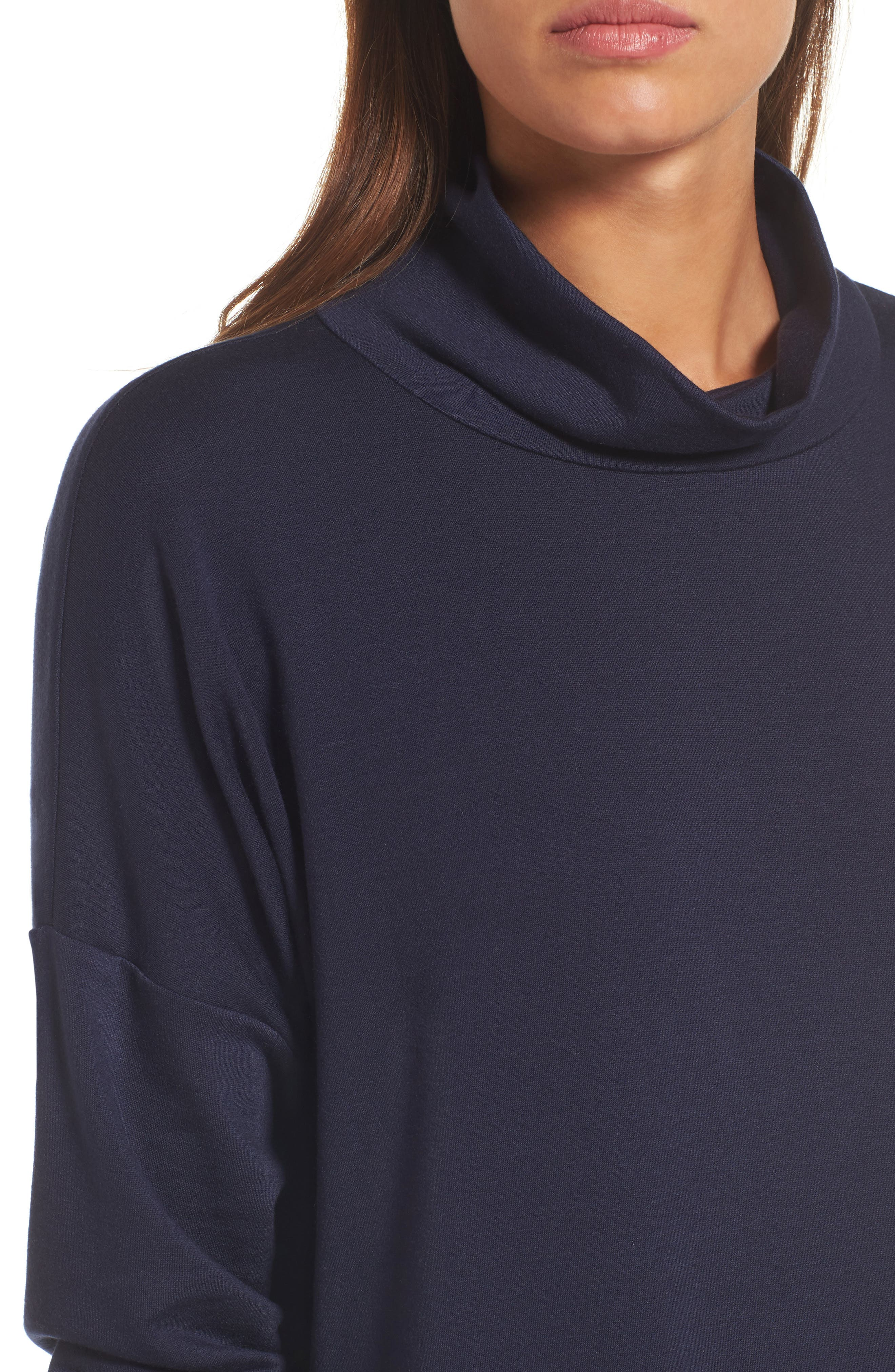Funnel Neck Knit Tunic,                             Alternate thumbnail 4, color,                             Midnight