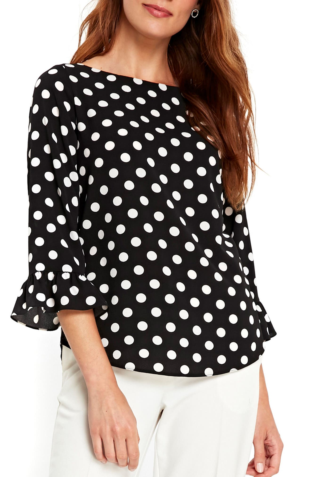 Flute Sleeve Polka Dot Top,                             Main thumbnail 1, color,                             Black