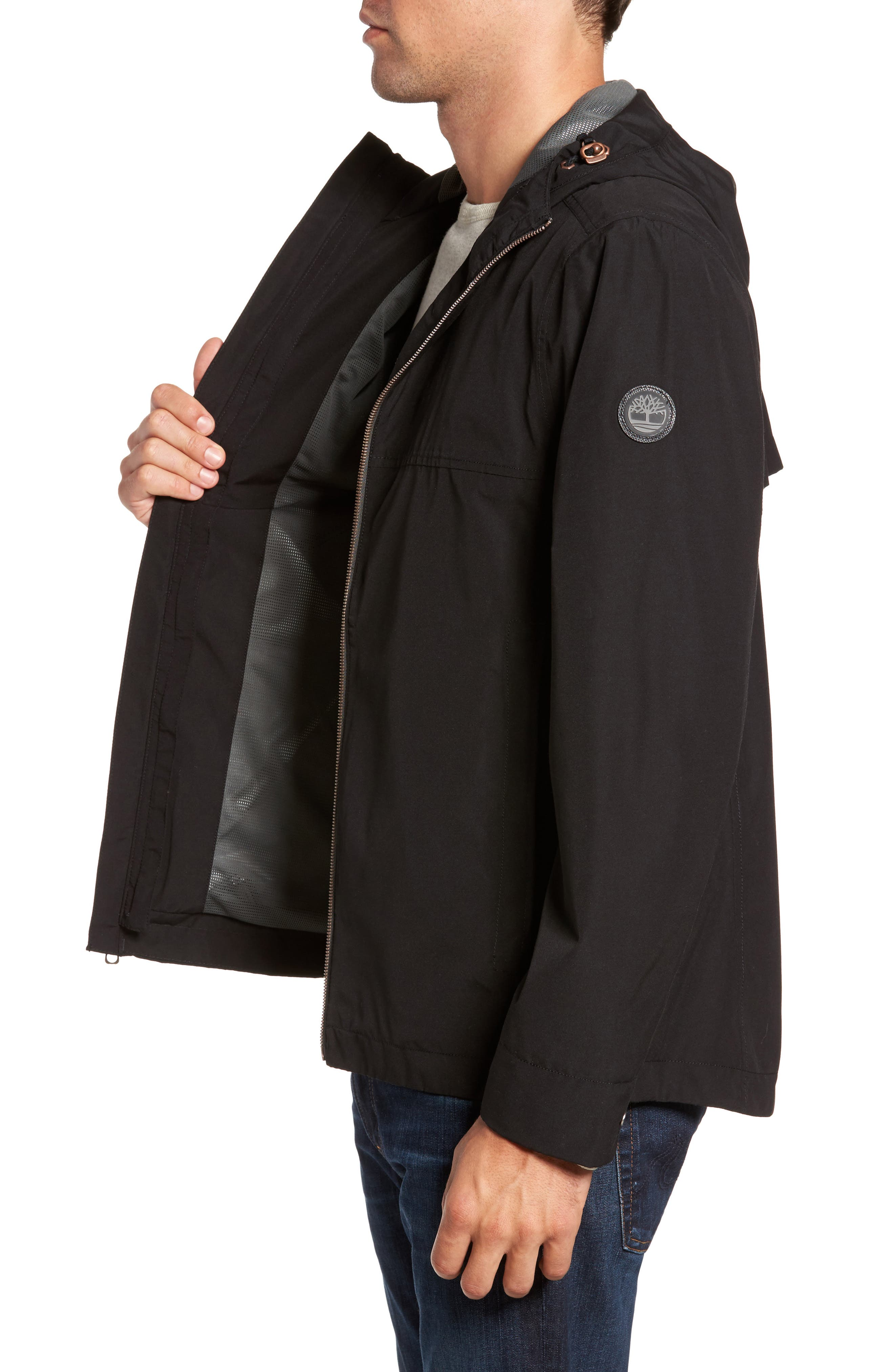 Ragged Mountain Packable Waterproof Jacket,                             Alternate thumbnail 3, color,                             Black