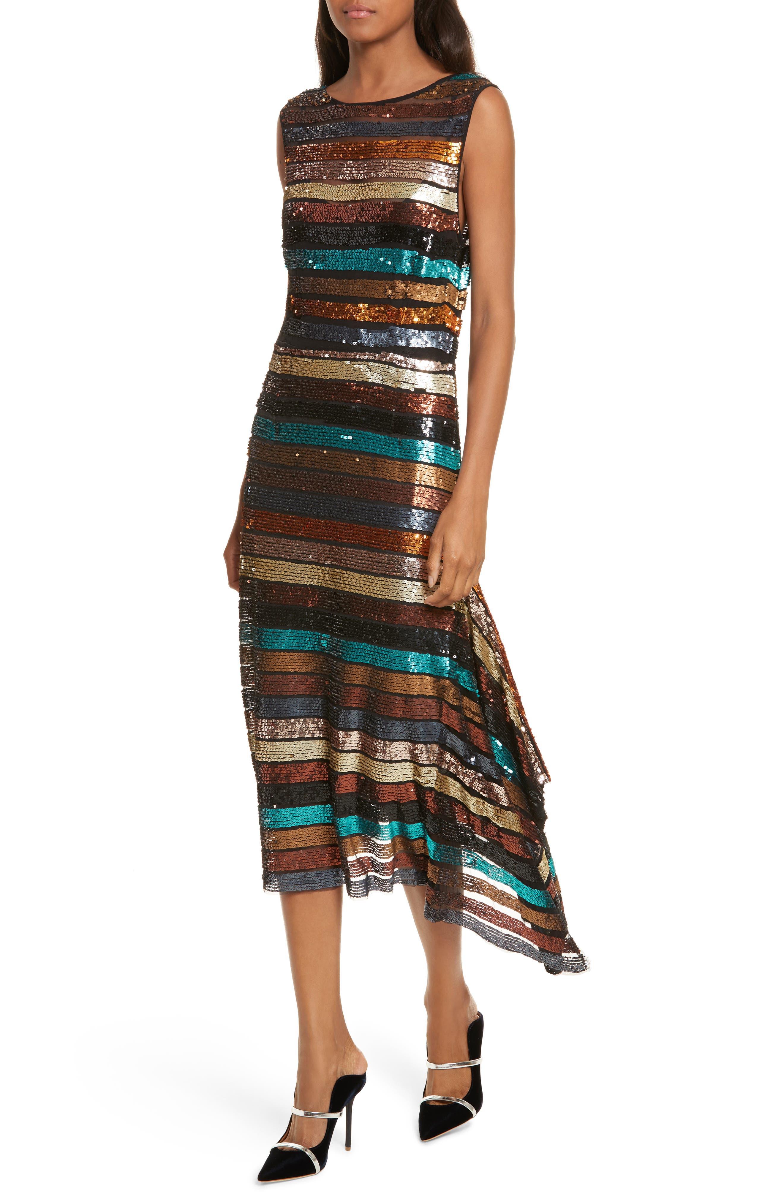 Flange Midi Dress,                             Alternate thumbnail 4, color,                             Multi