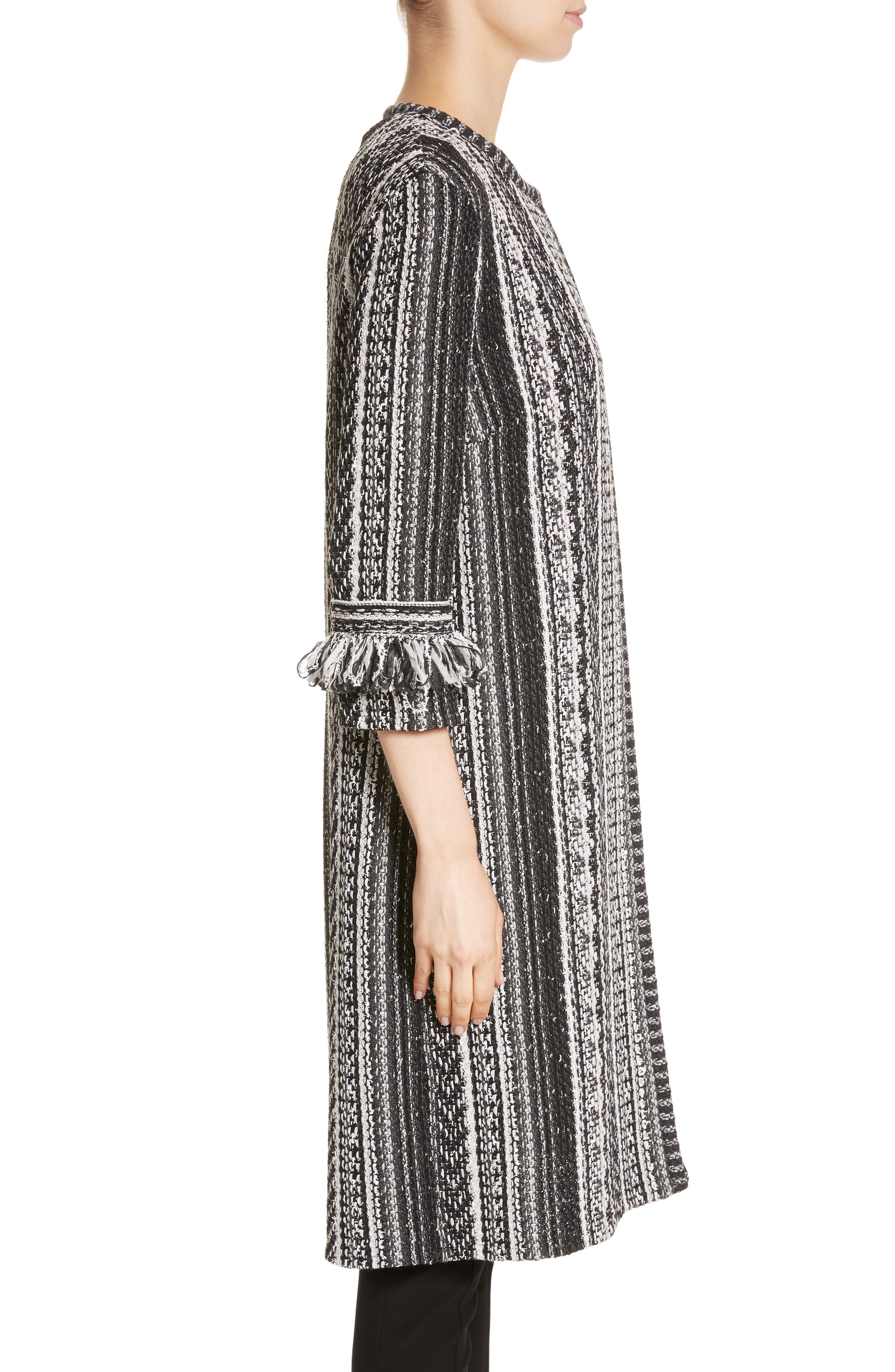 Fringe Ombré Stripe Tweed Knit Jacket,                             Alternate thumbnail 3, color,                             Caviar Multi