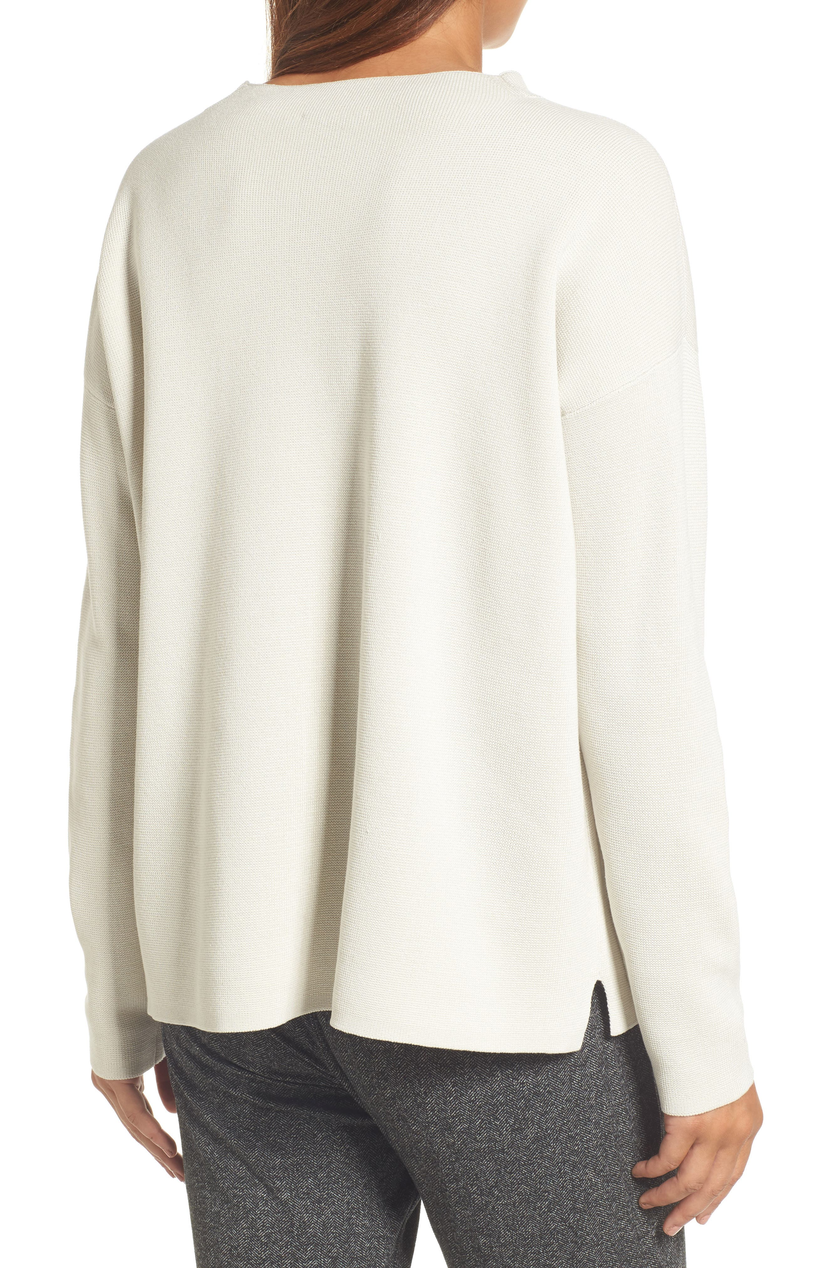 Mock Neck Box Silk & Organic Cotton Sweater,                             Alternate thumbnail 2, color,                             Bone