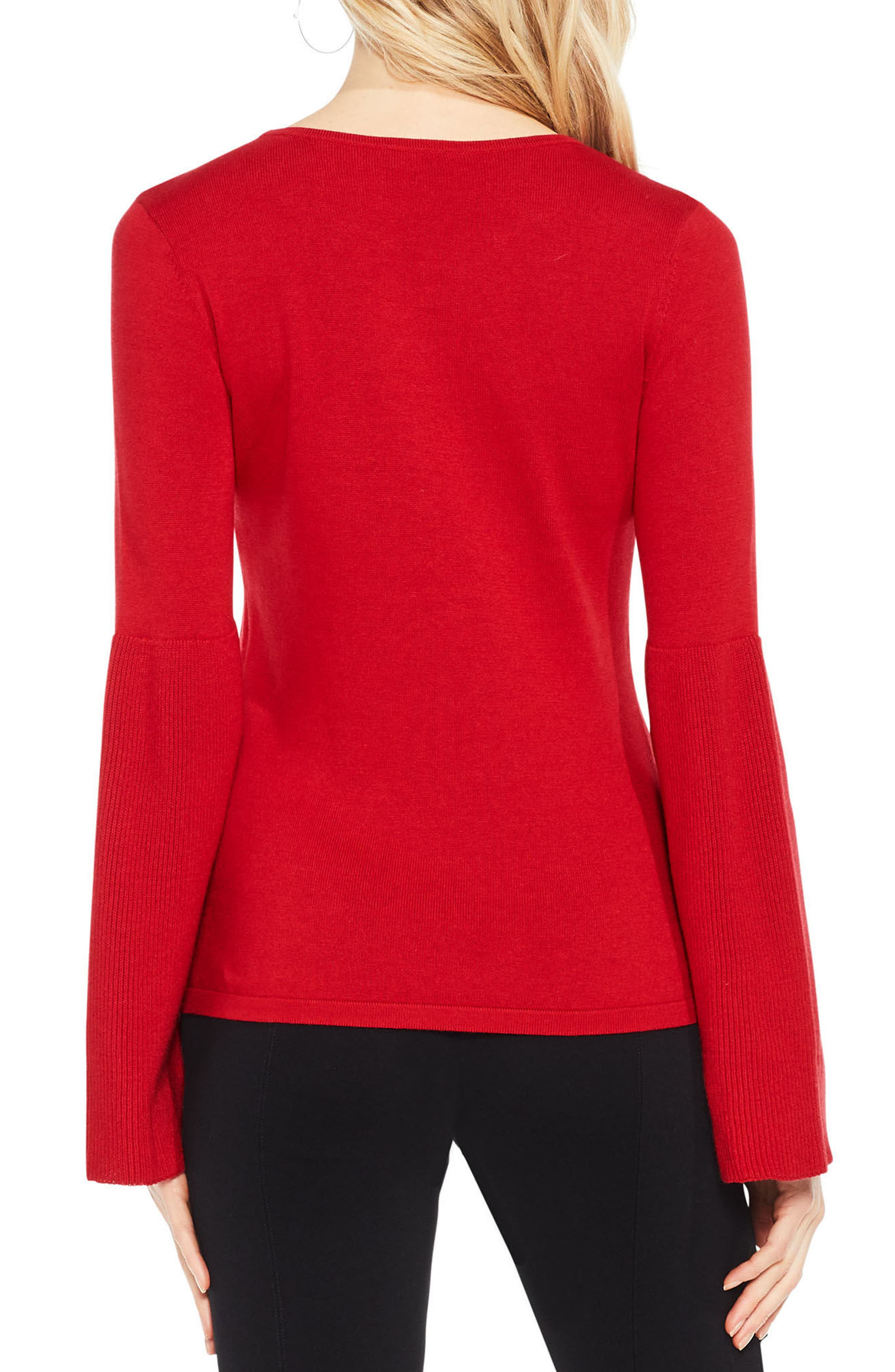 Alternate Image 2  - Vince Camuto Ribbed Bell Sleeve Sweater (Regular & Petite)