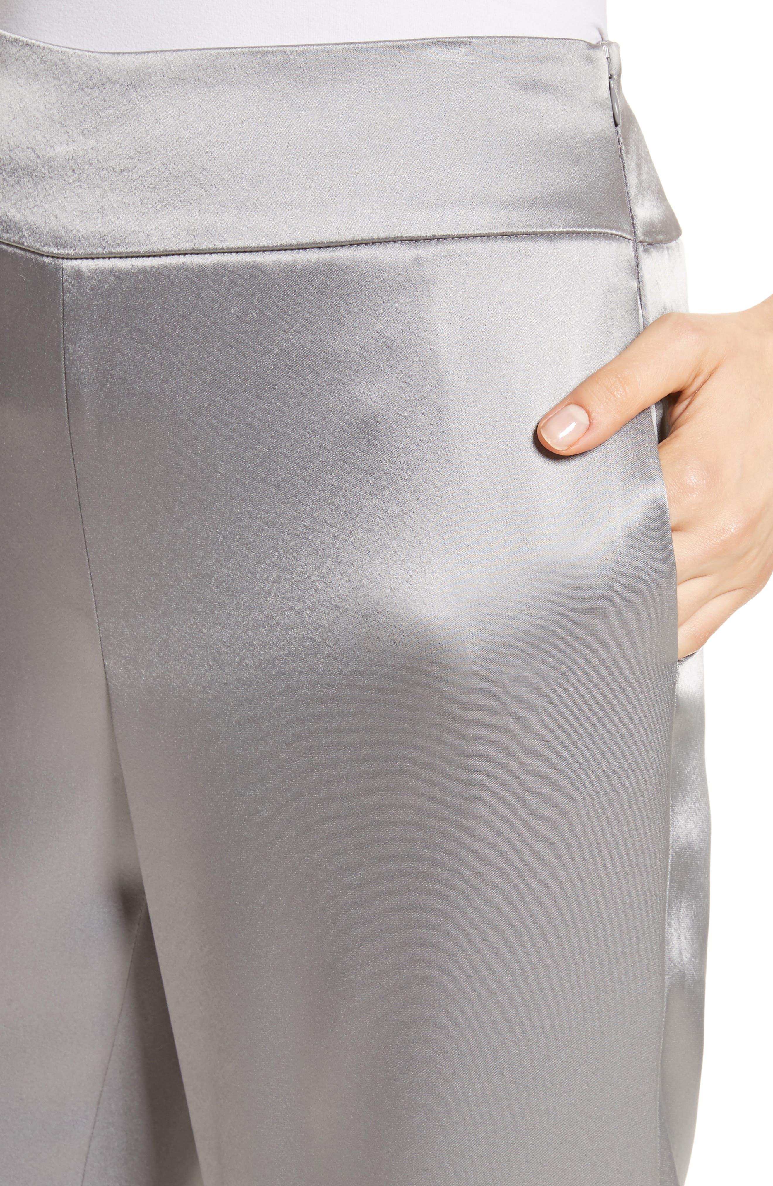 Liquid Satin Pants,                             Alternate thumbnail 4, color,                             Grey