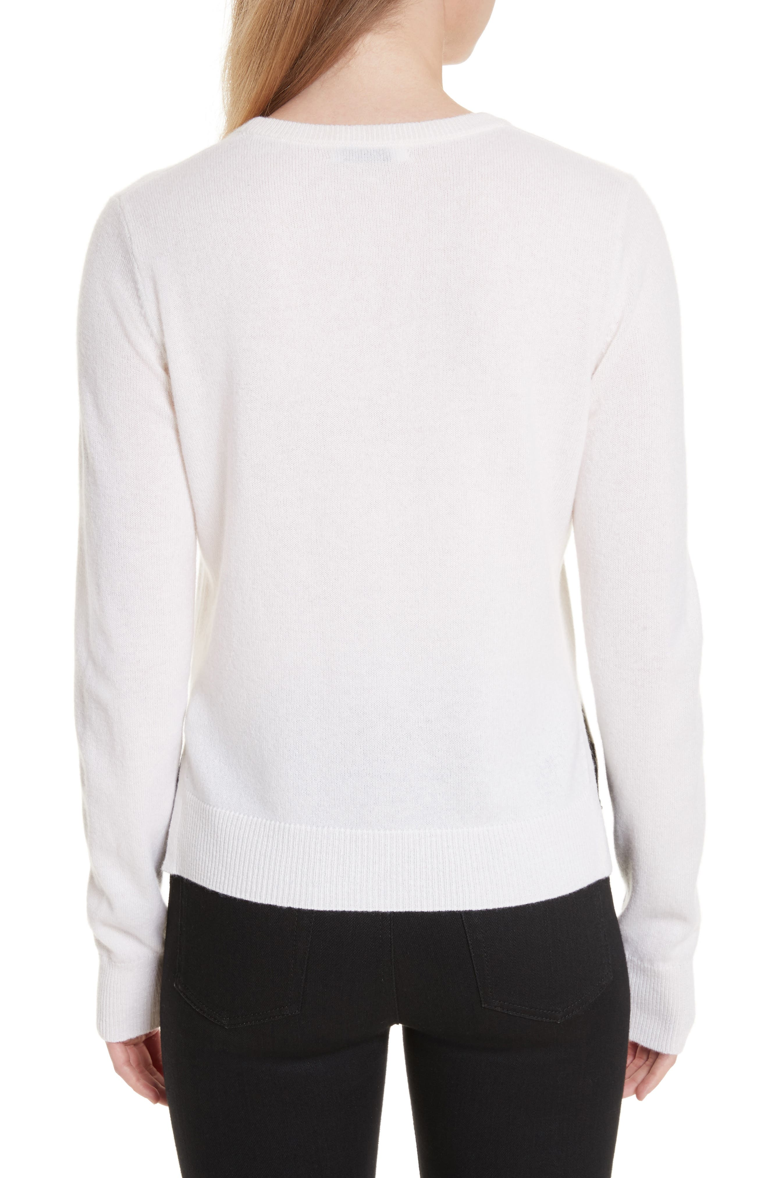Shirley Cashmere Sweater,                             Alternate thumbnail 2, color,                             Ivory/ Black