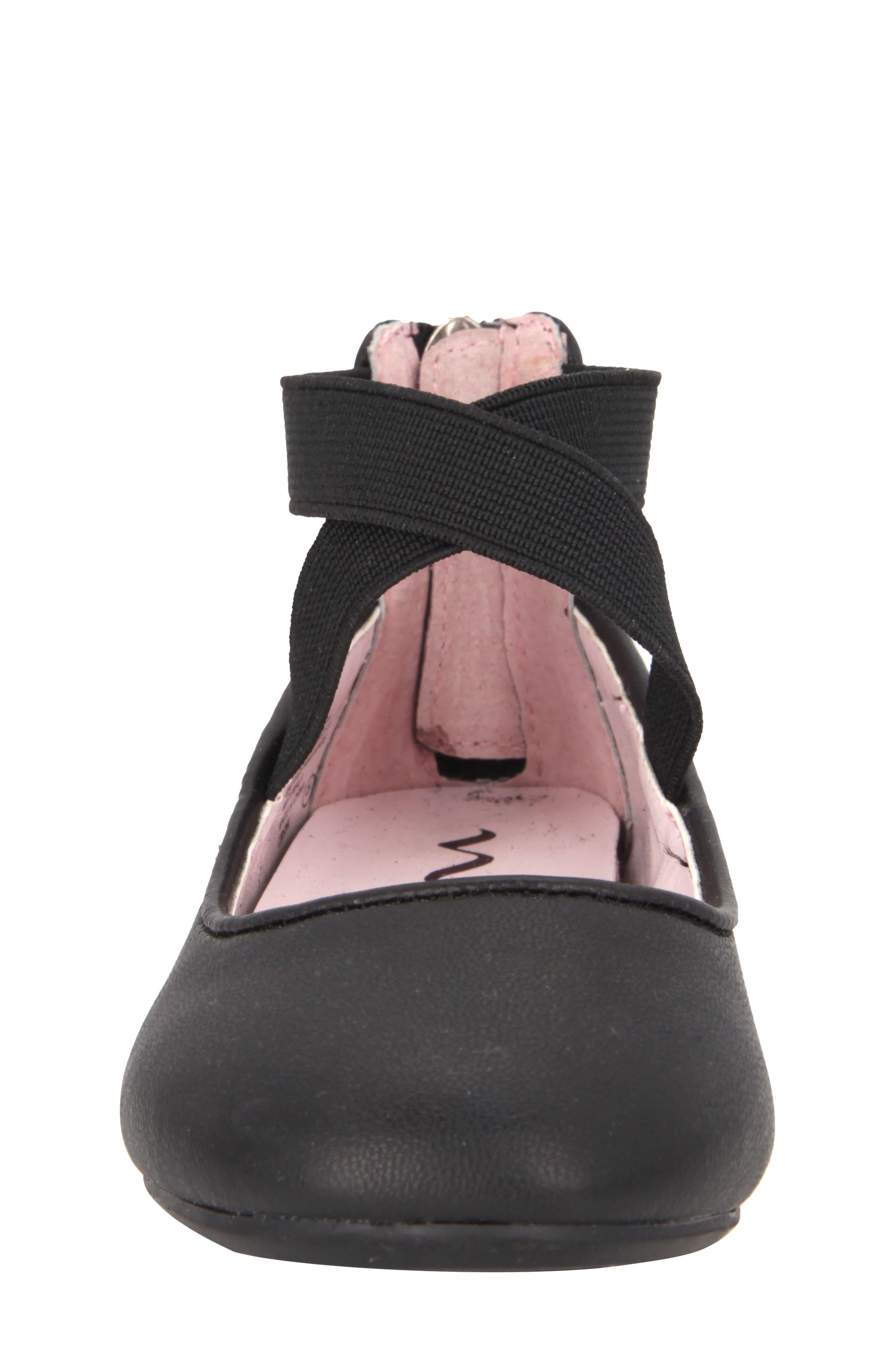 Marissa Cross Strap Flat,                             Alternate thumbnail 4, color,                             Black Faux Leather