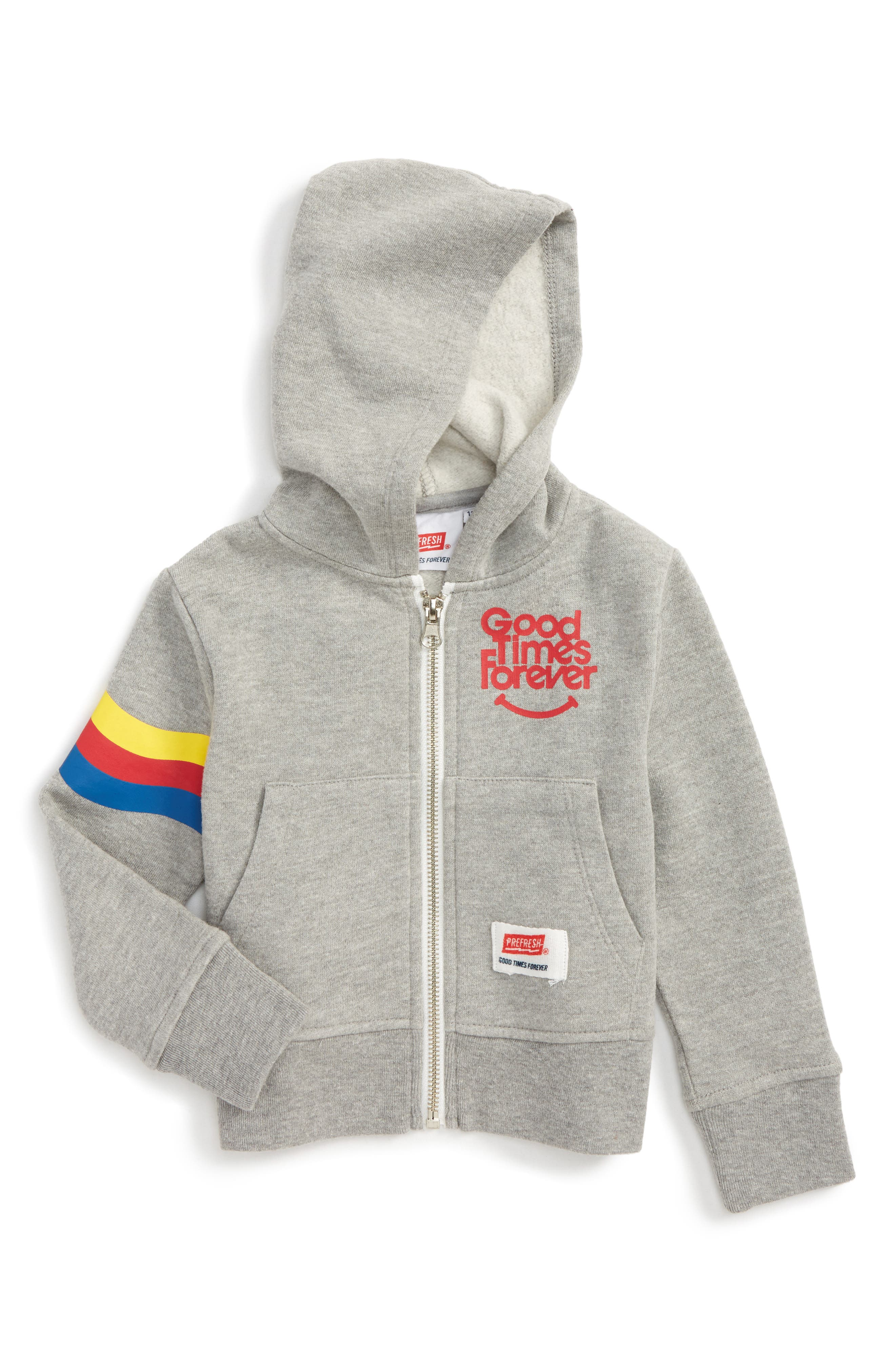 Good Times Forever Zip Hoodie,                             Main thumbnail 1, color,                             Heather Grey