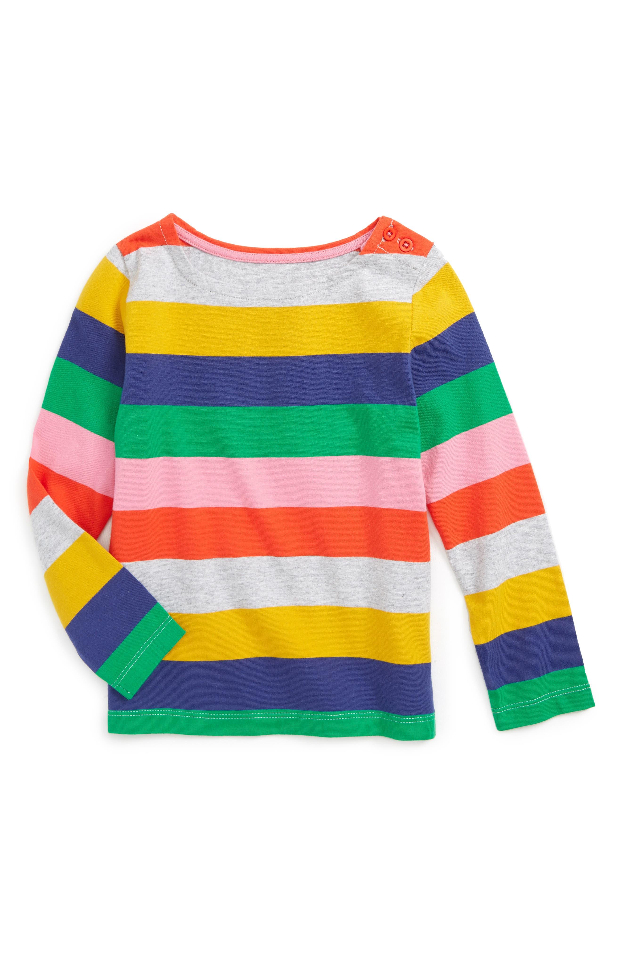 Main Image - Mini Boden Colourfully Stripy Tee (Toddler Girls, Little Girls & Big Girls)