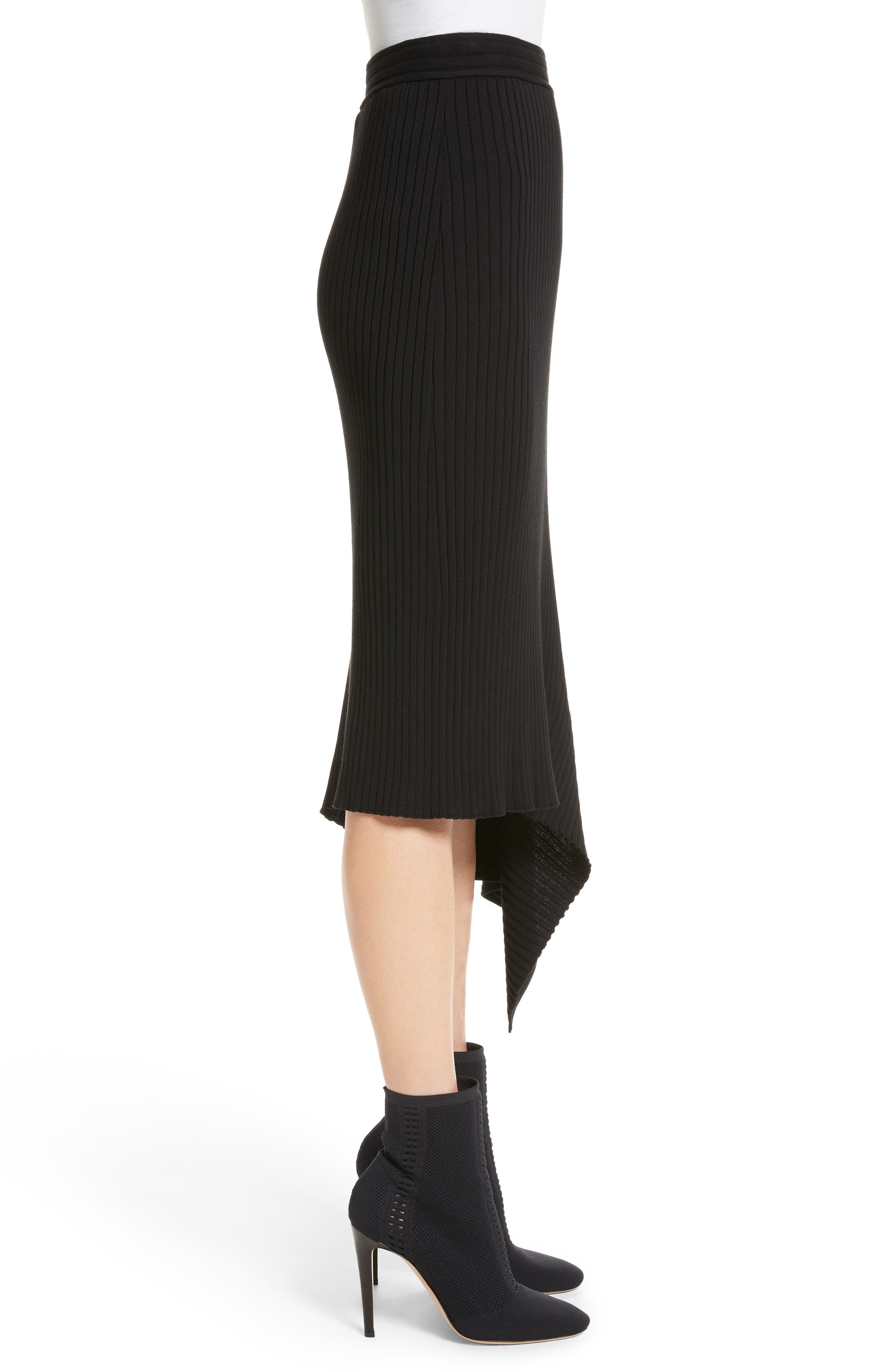 Flat Rib Knit Asymmetrical Skirt,                             Alternate thumbnail 3, color,                             Caviar