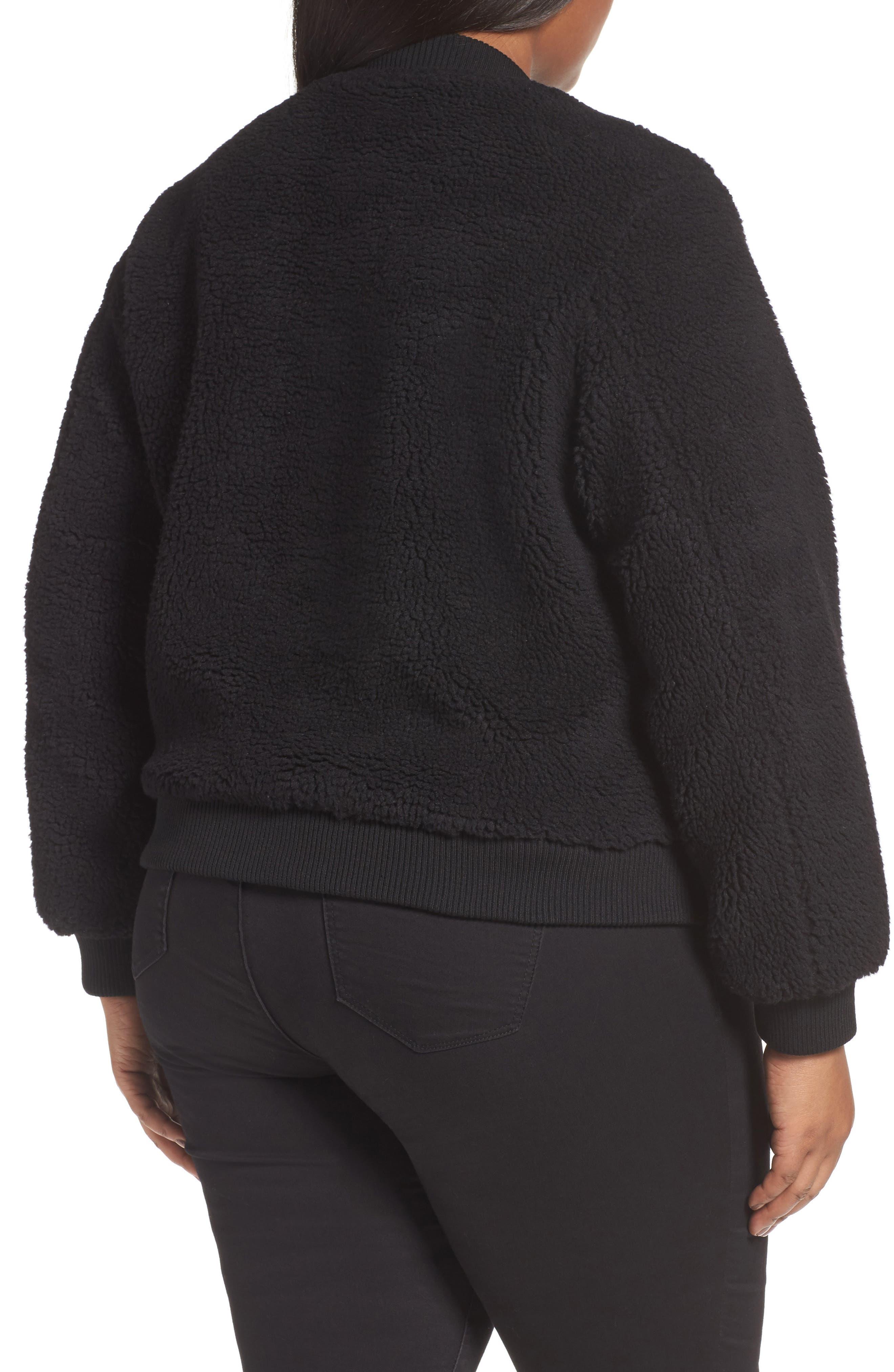 Rib Knit Fleece Bomber Jacket,                             Alternate thumbnail 2, color,                             Black