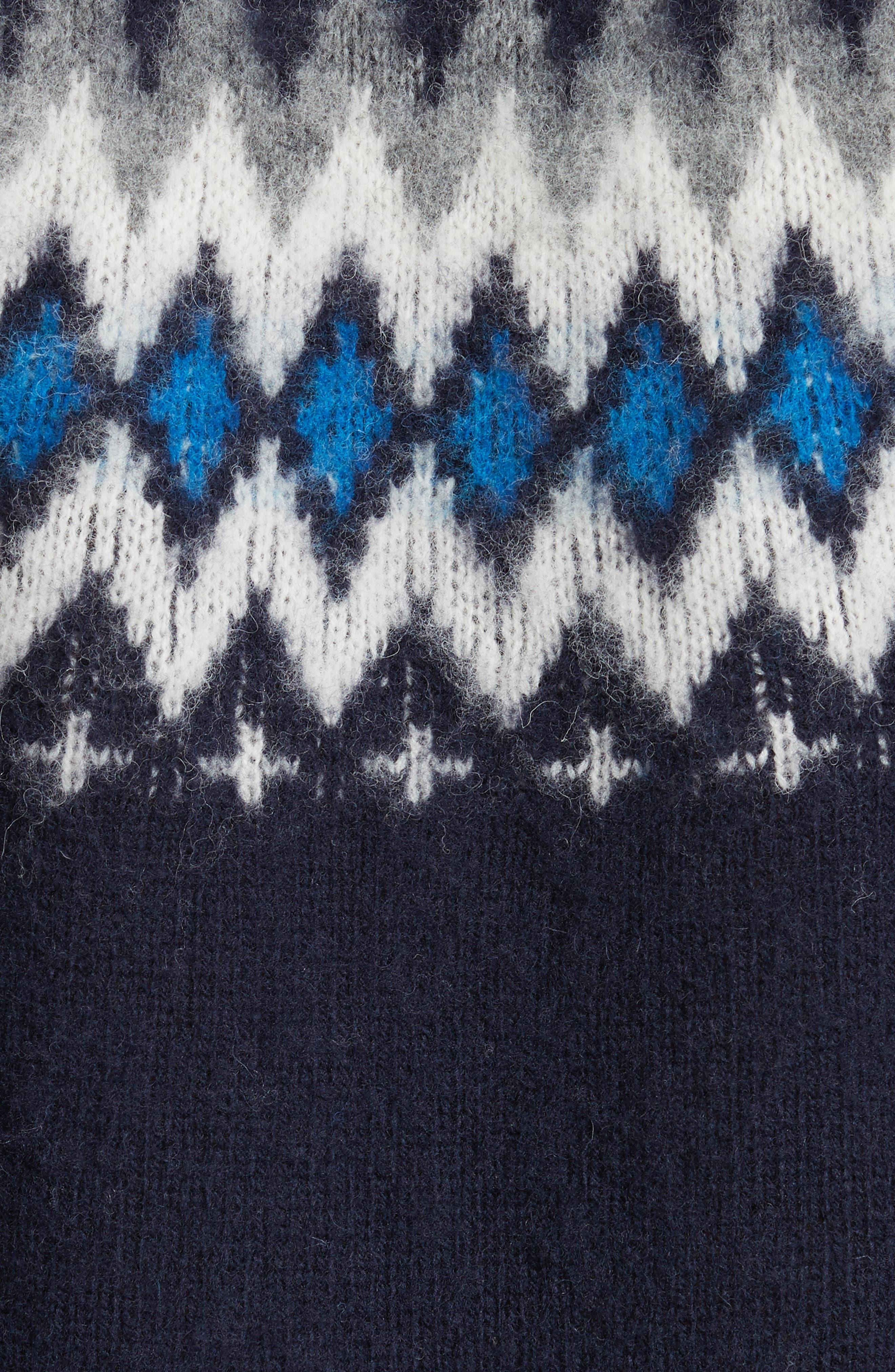 Nirnir Fair Isle Lambswool Sweater,                             Alternate thumbnail 5, color,                             Navy