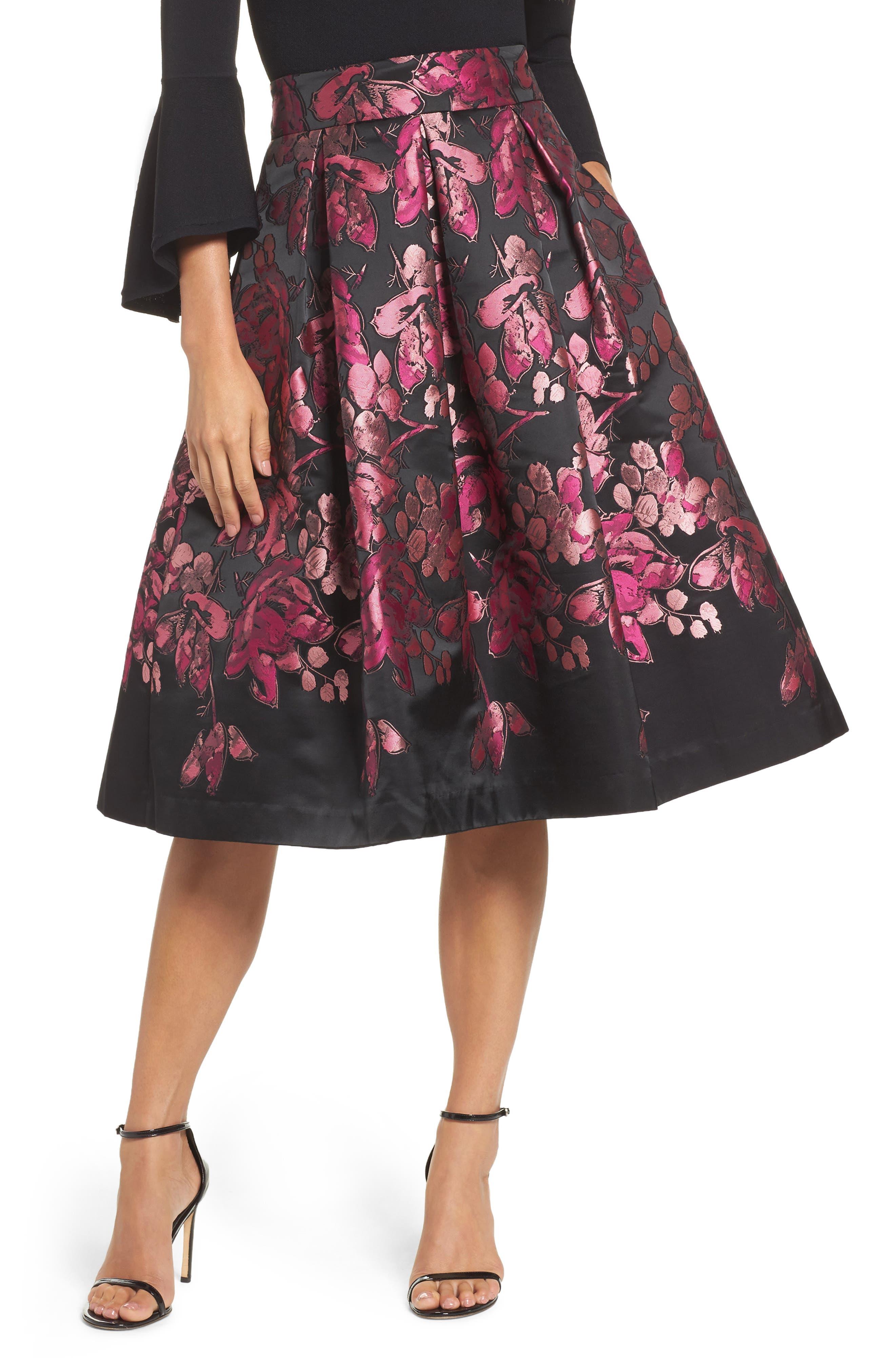 Floral Jacquard Midi Skirt,                         Main,                         color, Pink/ Black