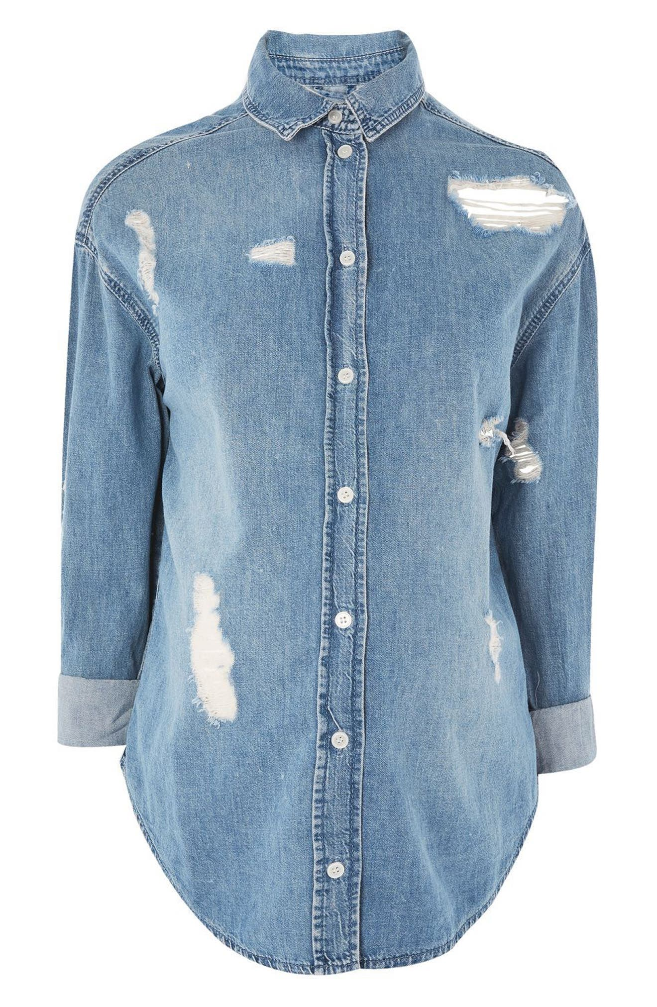 Topshop Ripped Denim Maternity Shirt