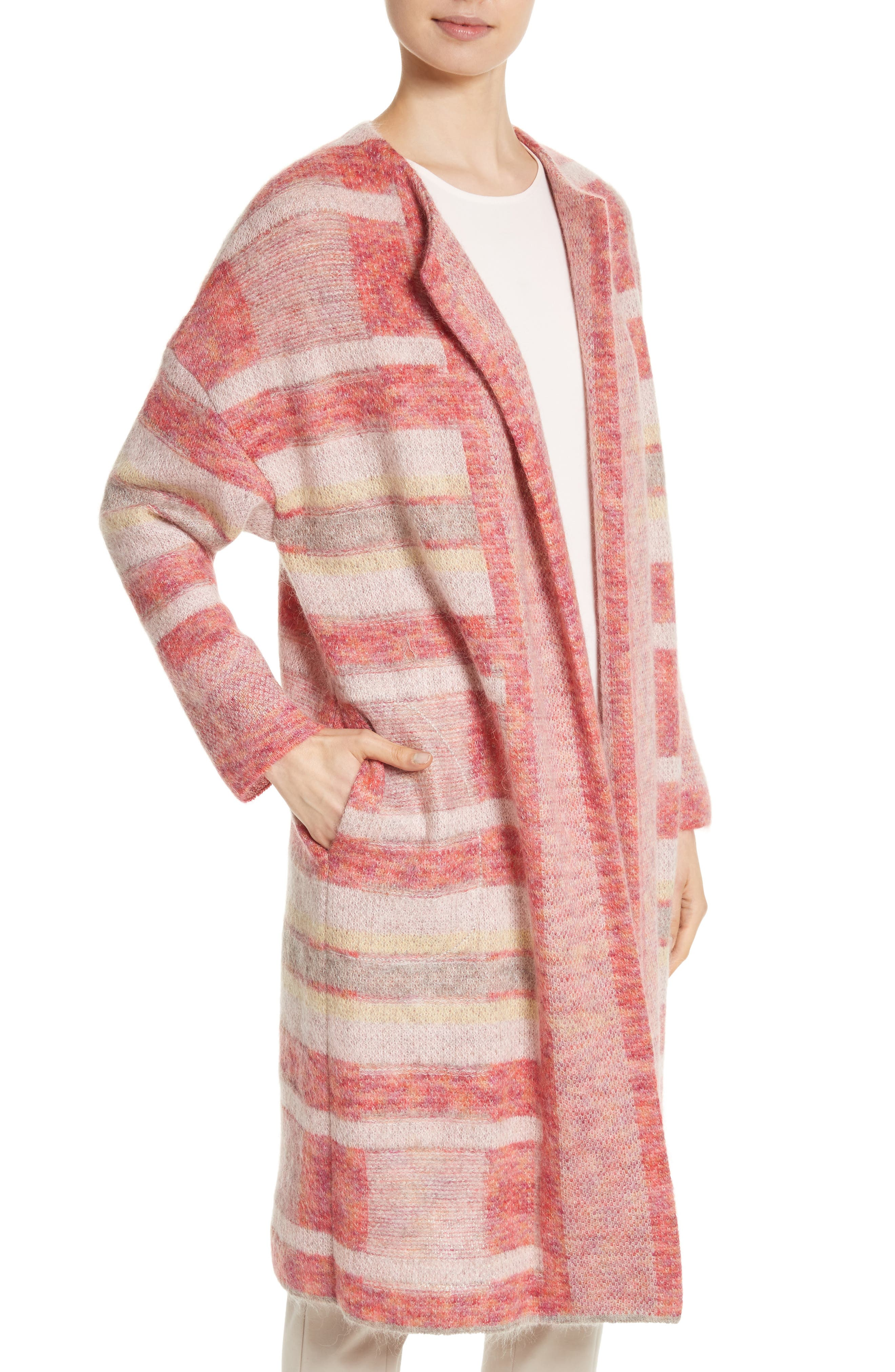 Lofty Knit Plaid Blanket Coat,                             Alternate thumbnail 4, color,                             Bright Coral Multi