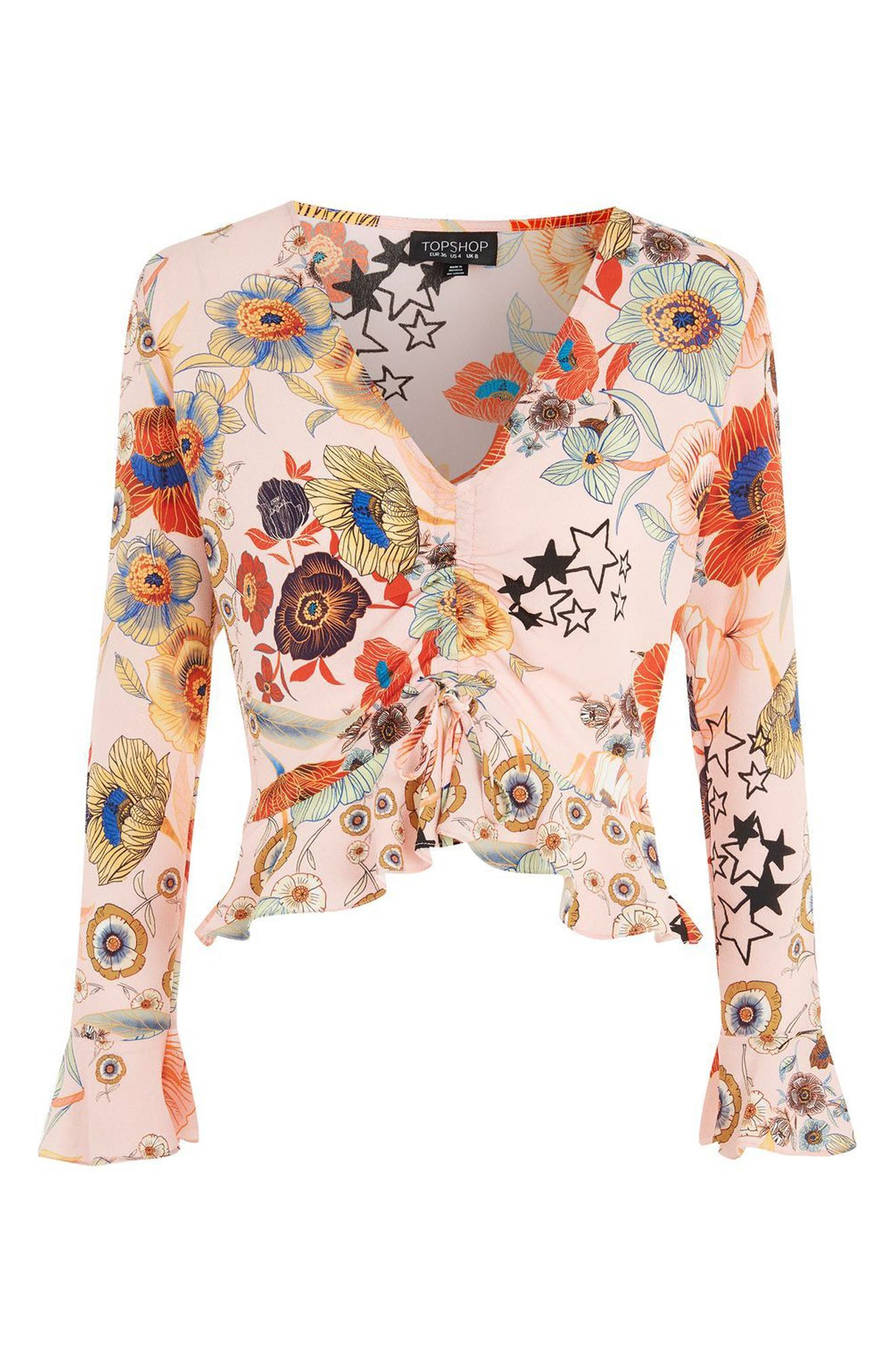 Star & Floral Print Ruched Blouse,                             Alternate thumbnail 4, color,                             Blush Multi