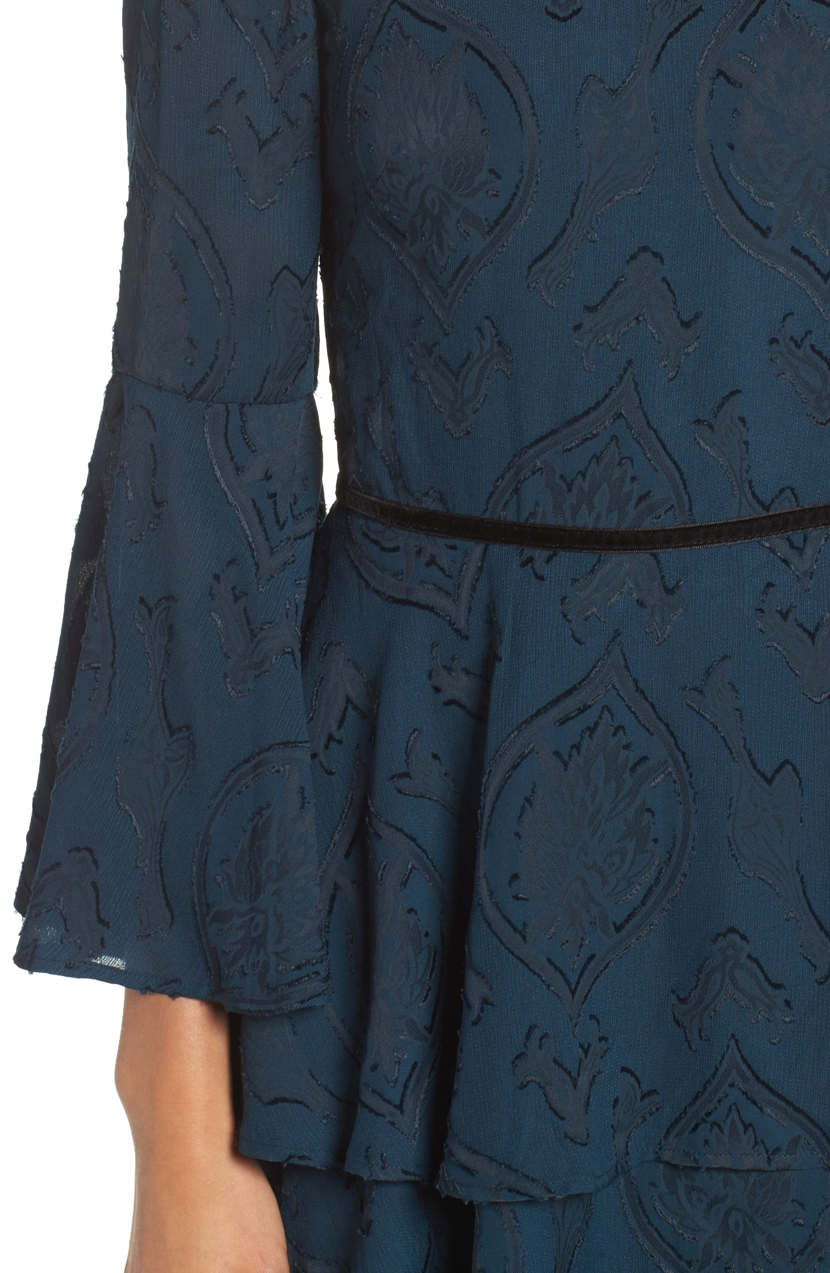 Tiered Chiffon Fit & Flare Dress,                             Alternate thumbnail 4, color,                             Teal/ Black