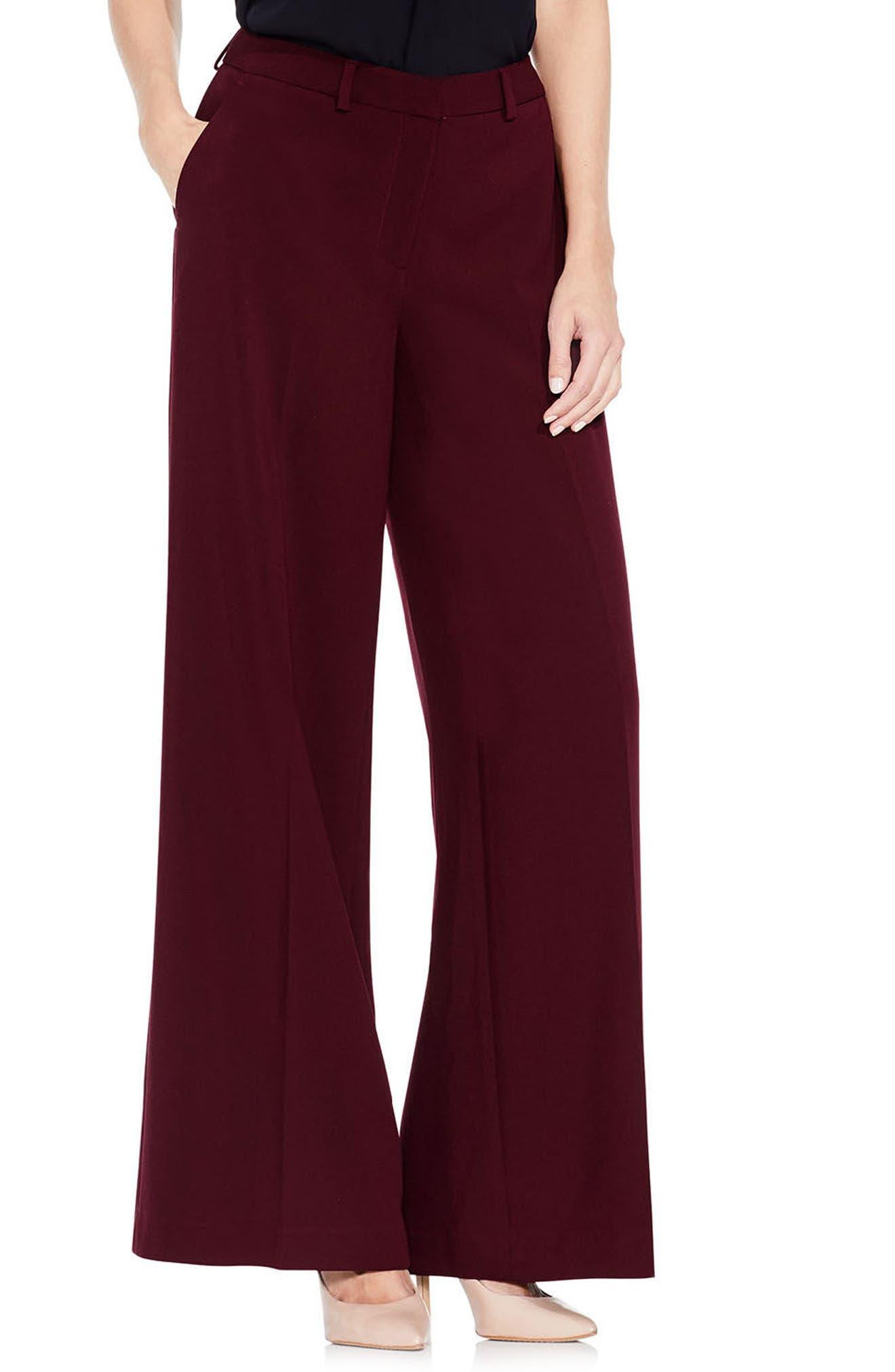 Wide Leg Pants,                         Main,                         color, Deep Claret
