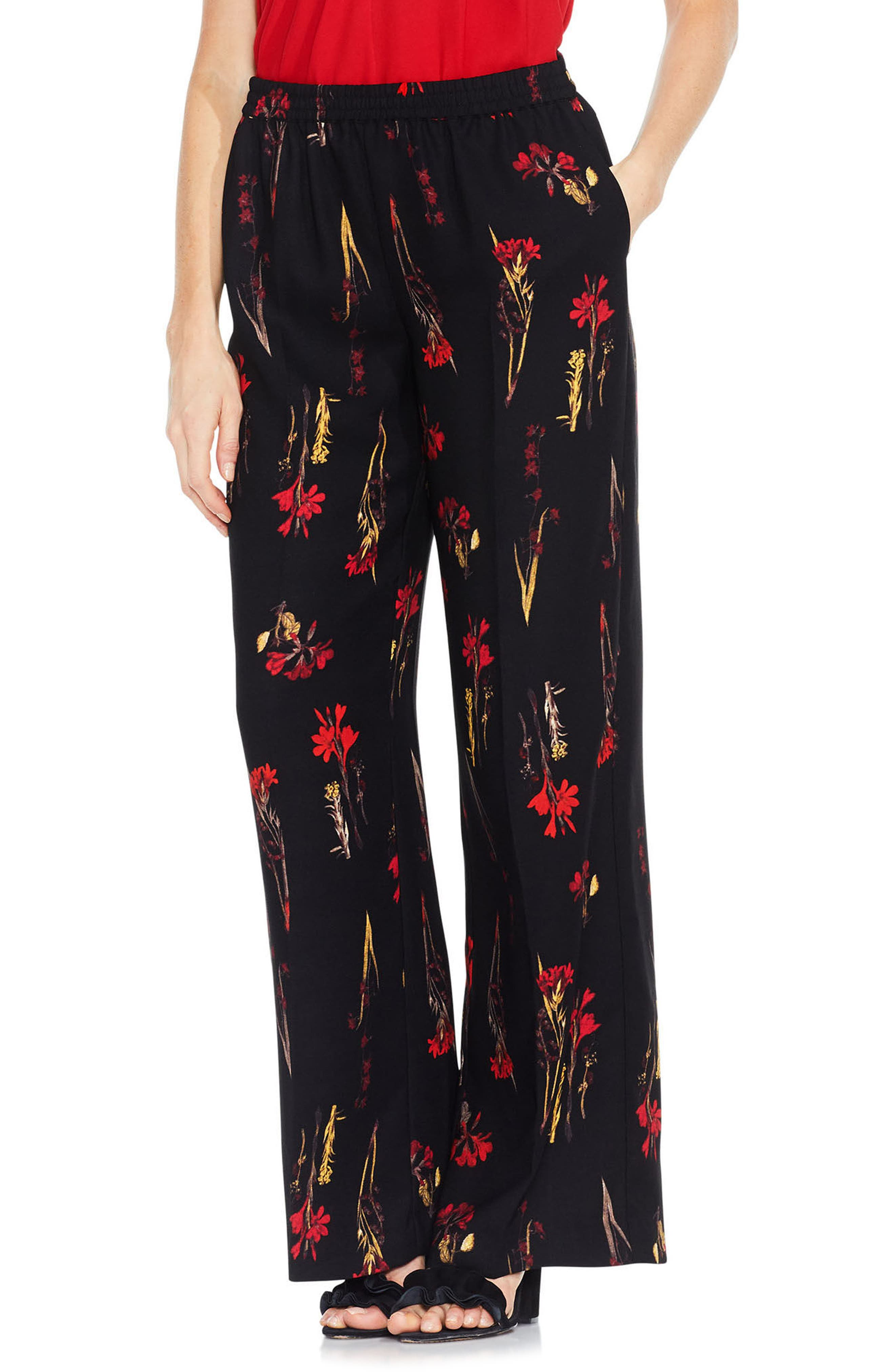 Alternate Image 1 Selected - Vince Camuto Botanical Print Wide Leg Pants
