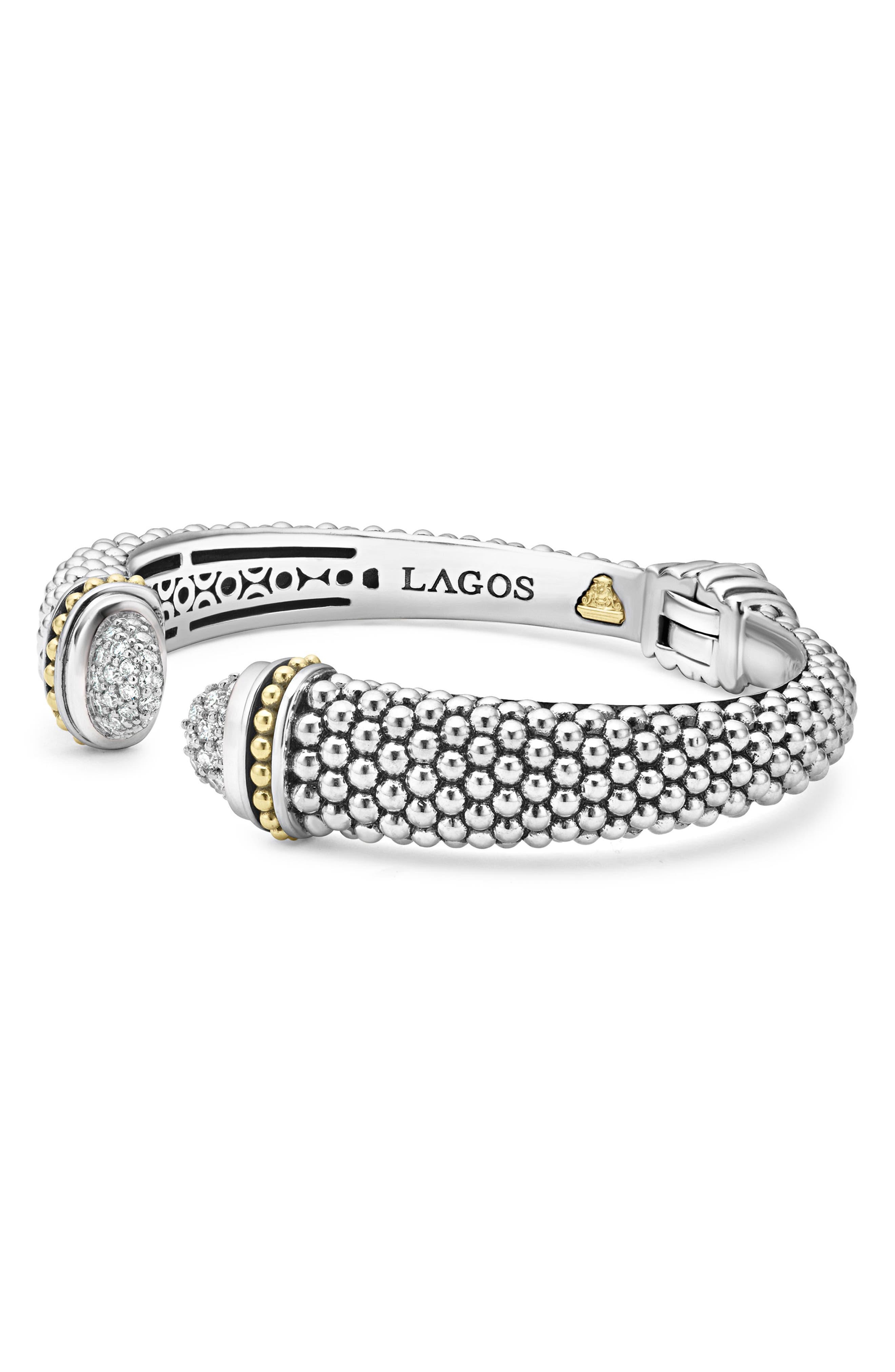 Caviar Diamond Cuff,                             Alternate thumbnail 4, color,                             Silver