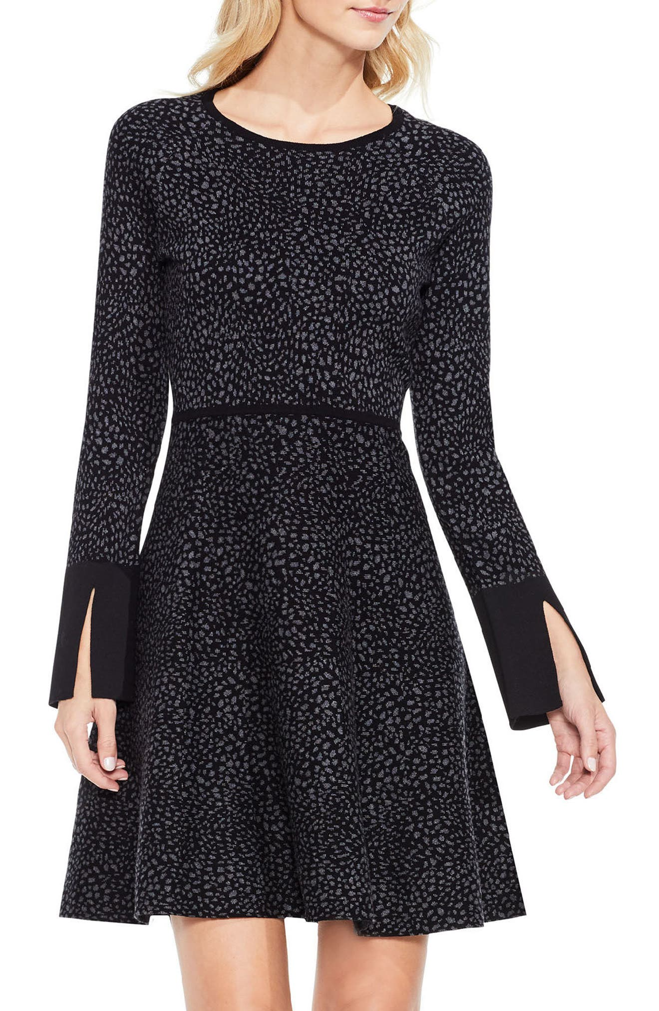 Jacquard Fit & Flare Dress,                             Main thumbnail 1, color,                             Rich Black
