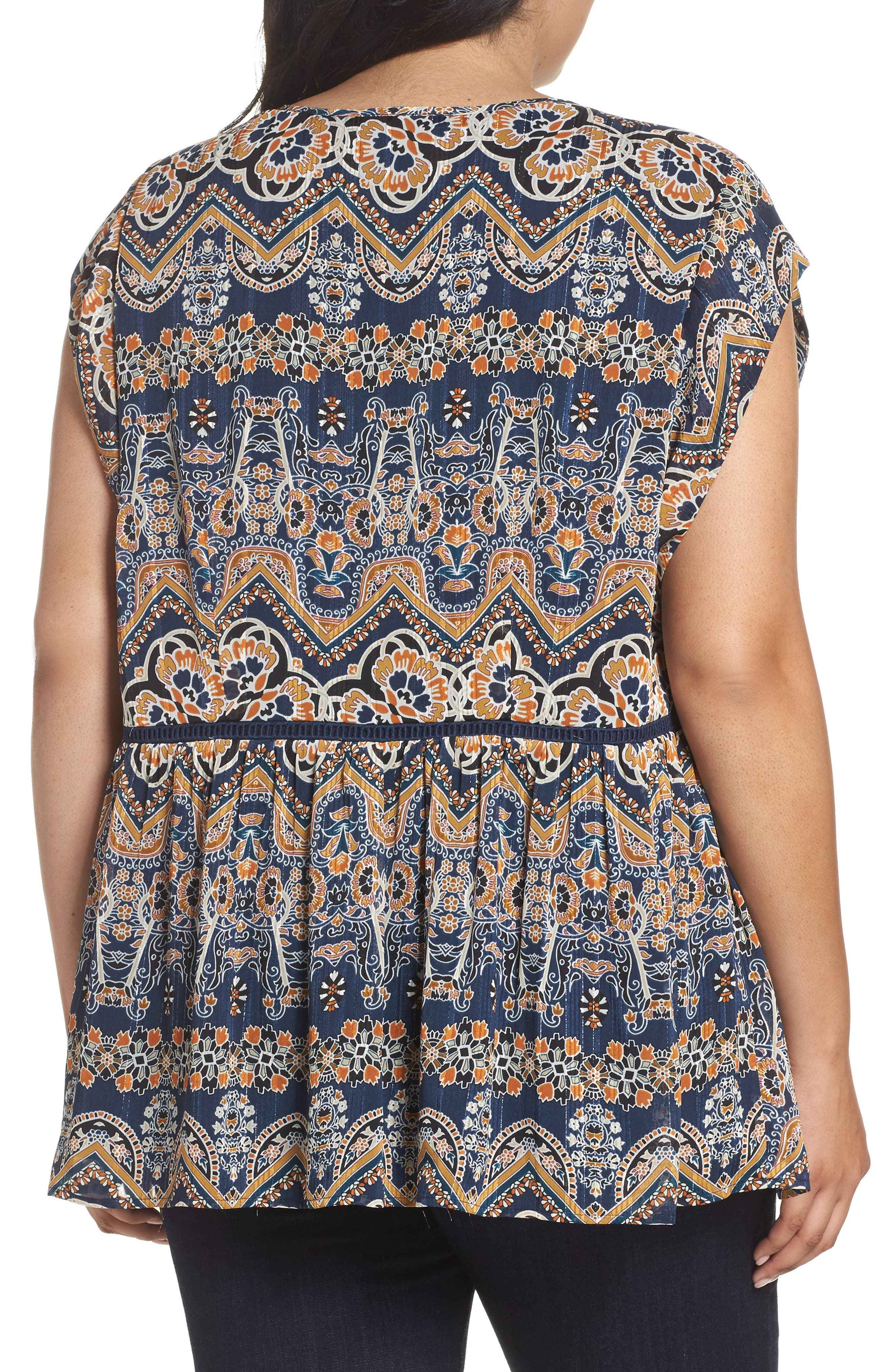 Print Pleated Top,                             Alternate thumbnail 2, color,                             Blue
