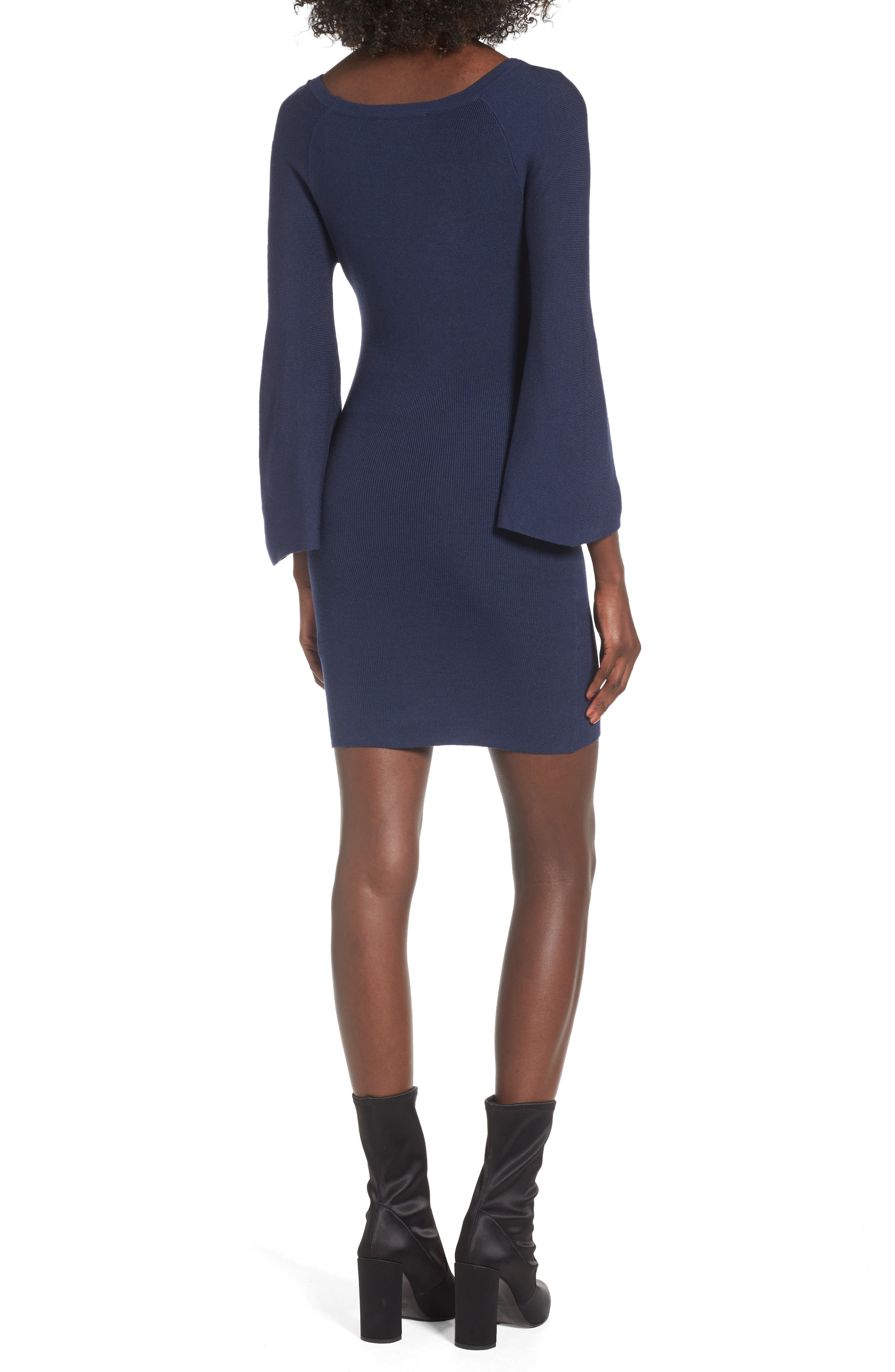 Alternate Image 2  - J.O.A. Flare Sleeve Body-Con Dress
