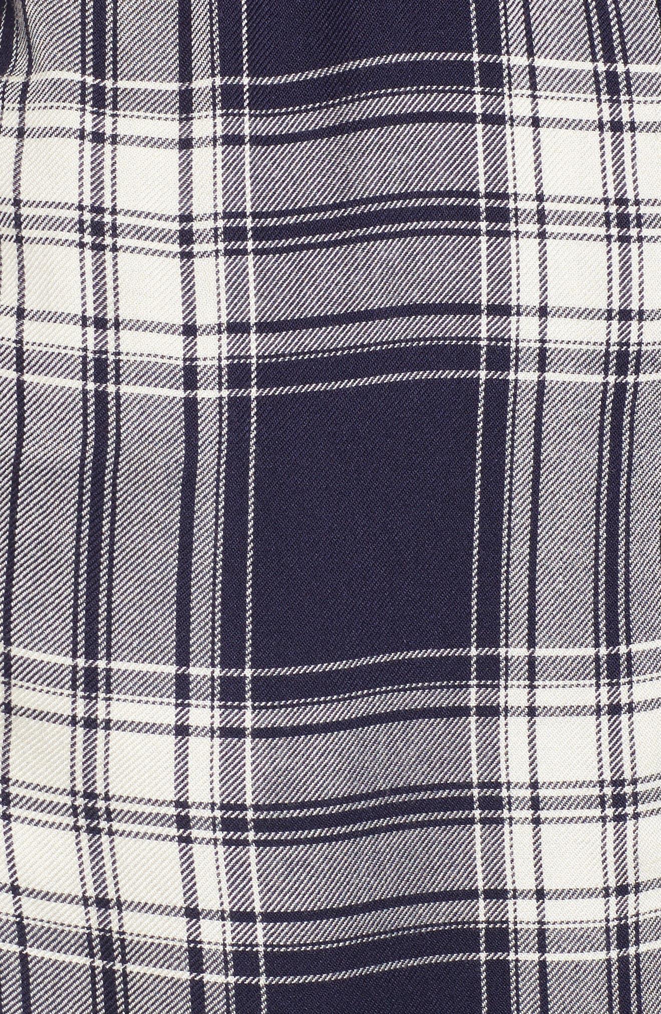Oversize Flannel Shirt,                             Alternate thumbnail 5, color,                             Navy Peacoat Rose Plaid