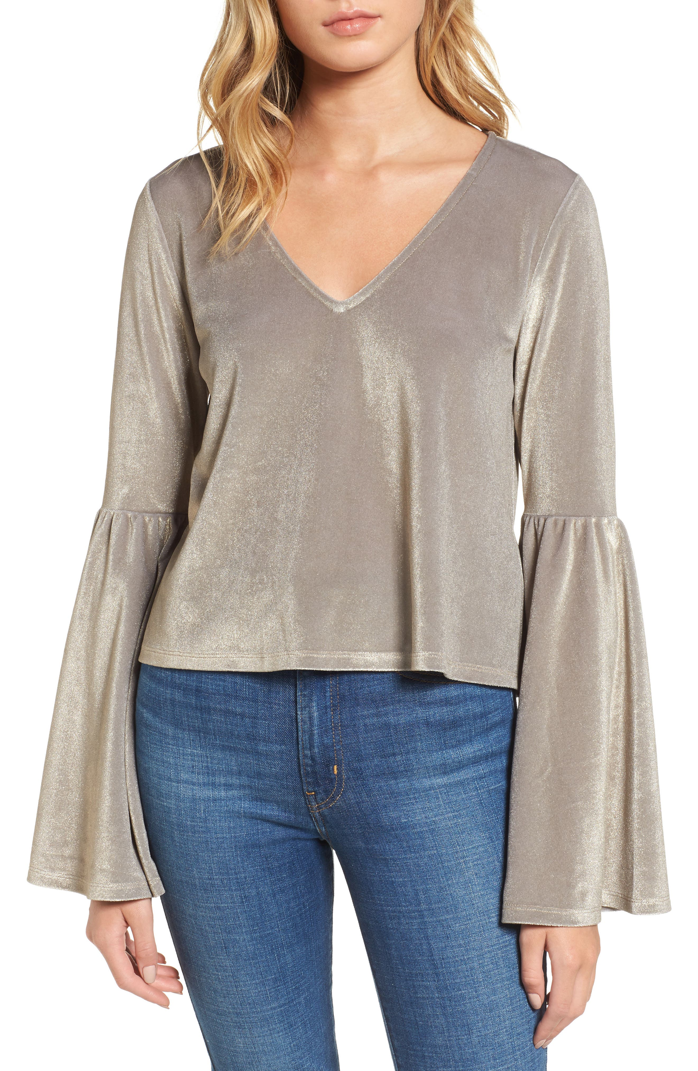 Velour Bell Sleeve Top,                         Main,                         color, Metallic Bubble
