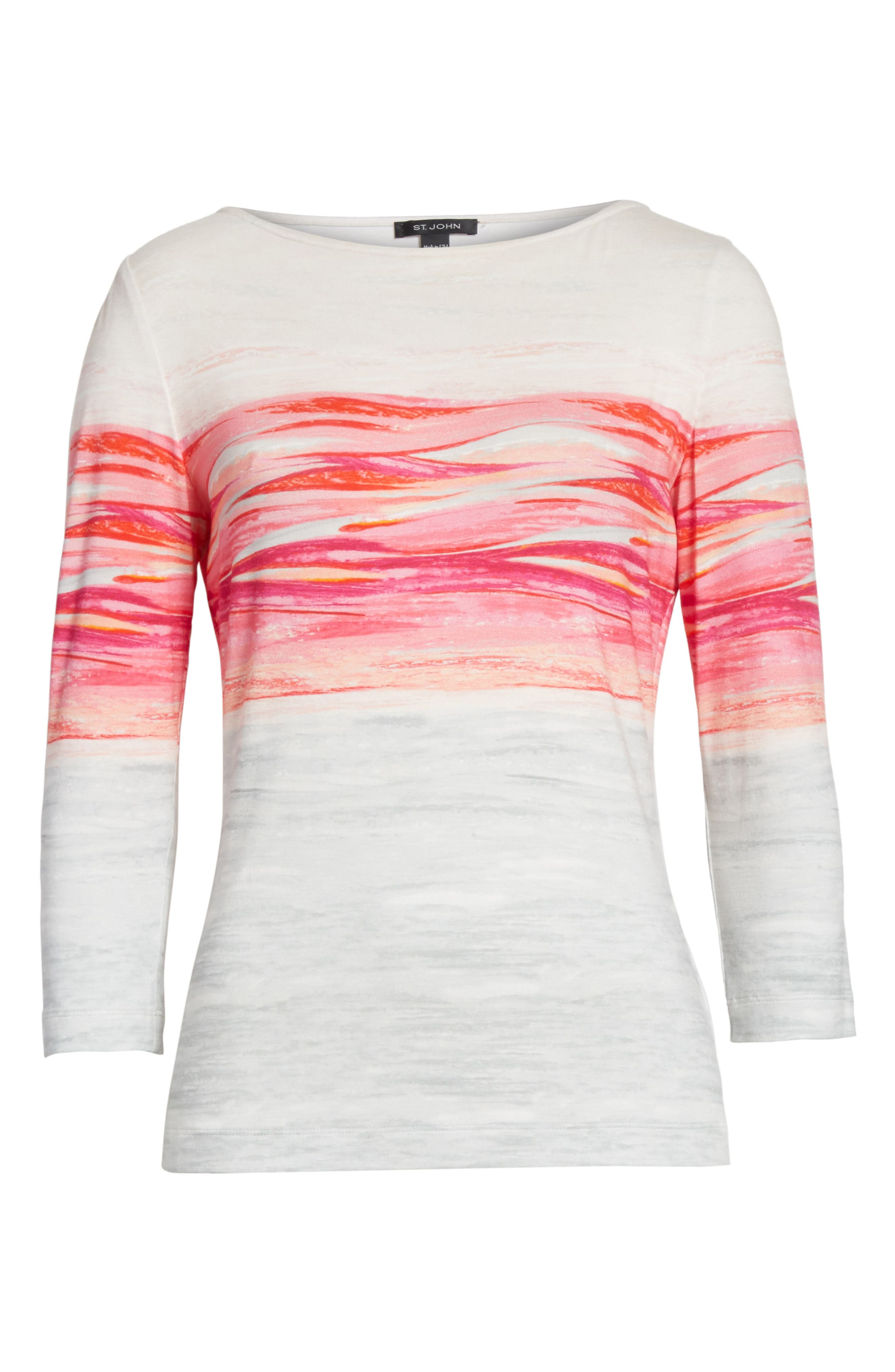 Textured Brushstroke Print Jersey Top,                             Alternate thumbnail 7, color,                             Bright Coral Multi