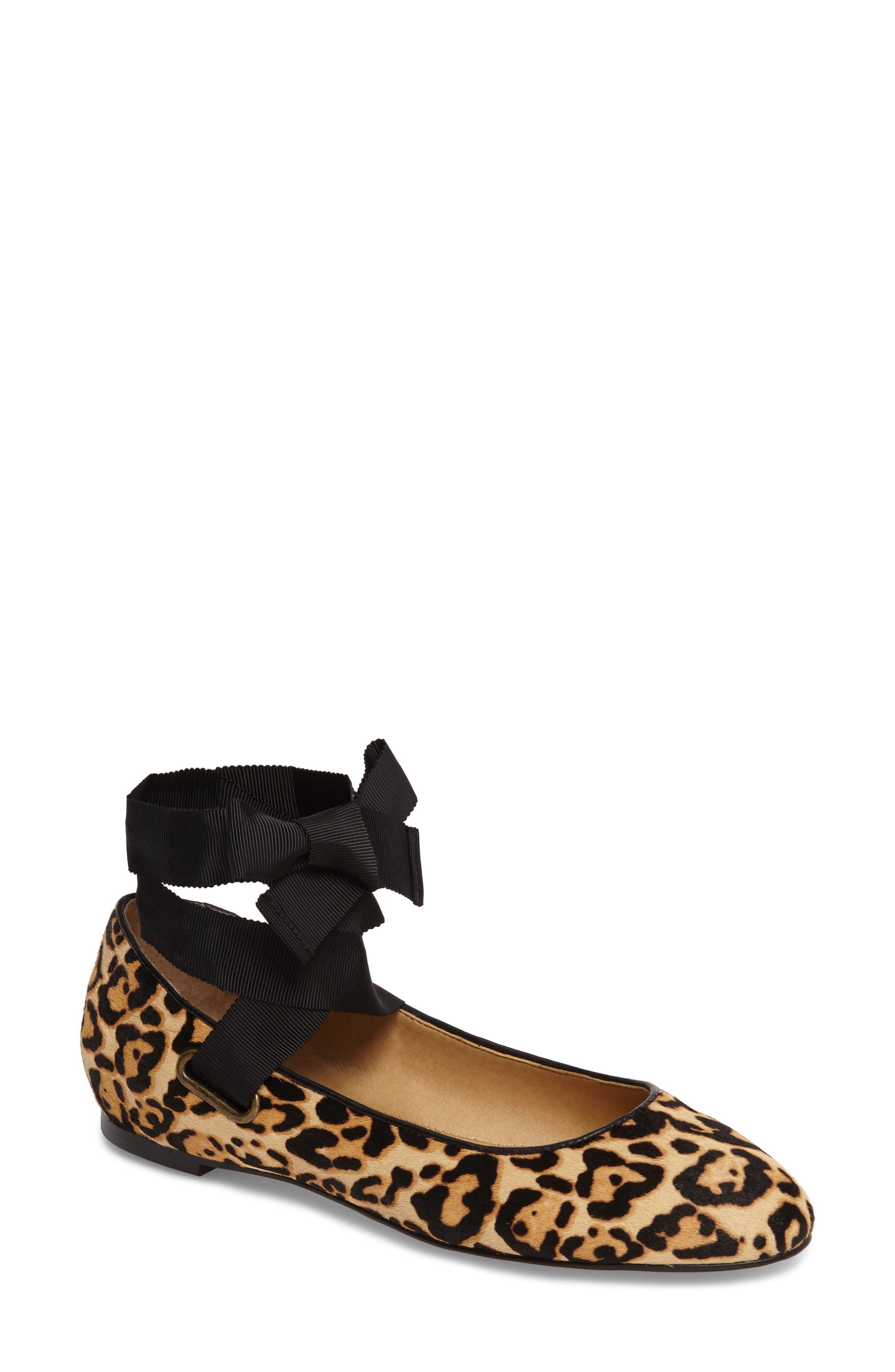 Renee II Genuine Calf Hair Ankle Tie Flat,                         Main,                         color, Leopard Calf Hair
