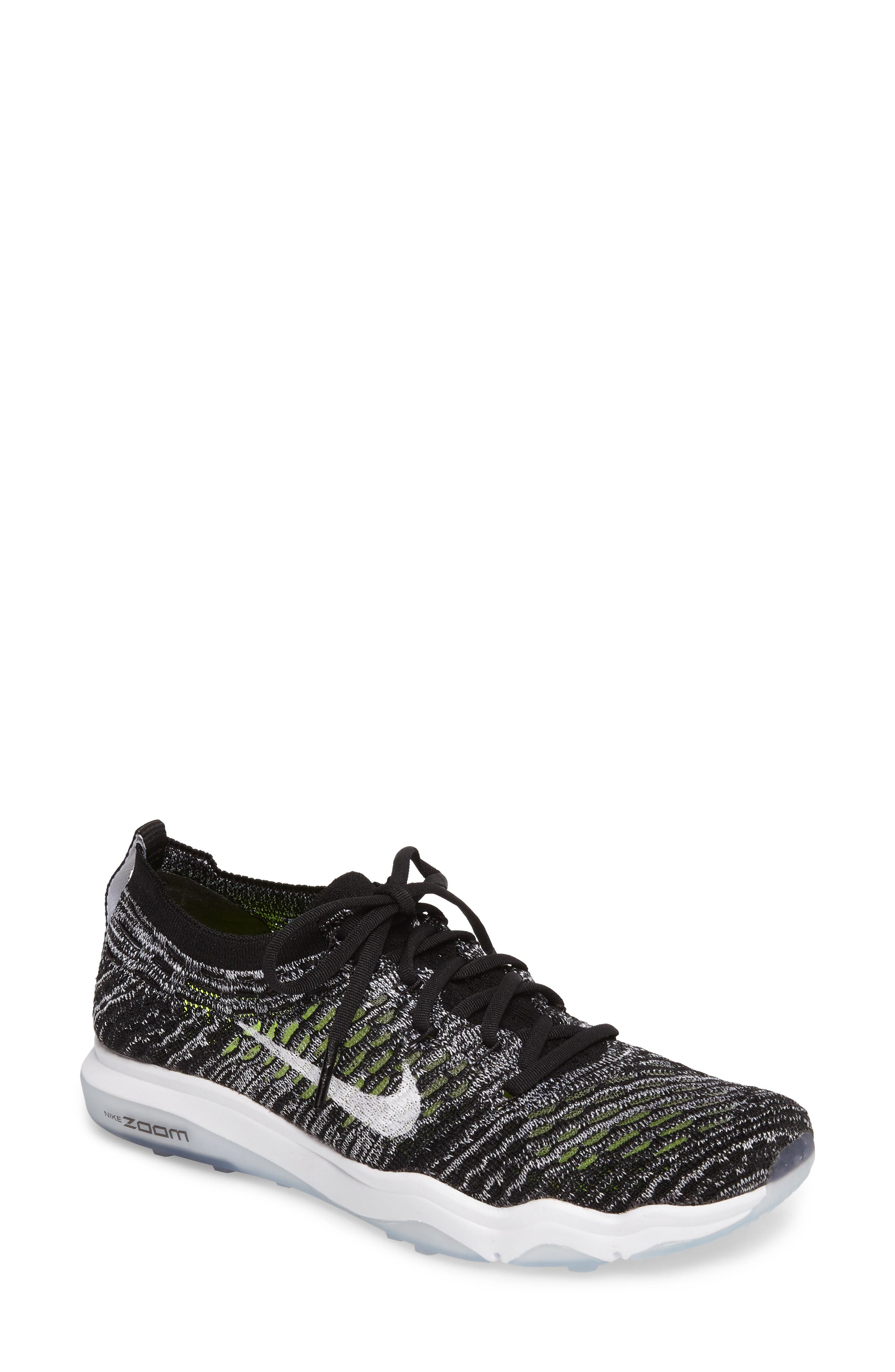 Air Zoom Fearless Flyknit Training Shoe,                         Main,                         color, Black/ White/ White
