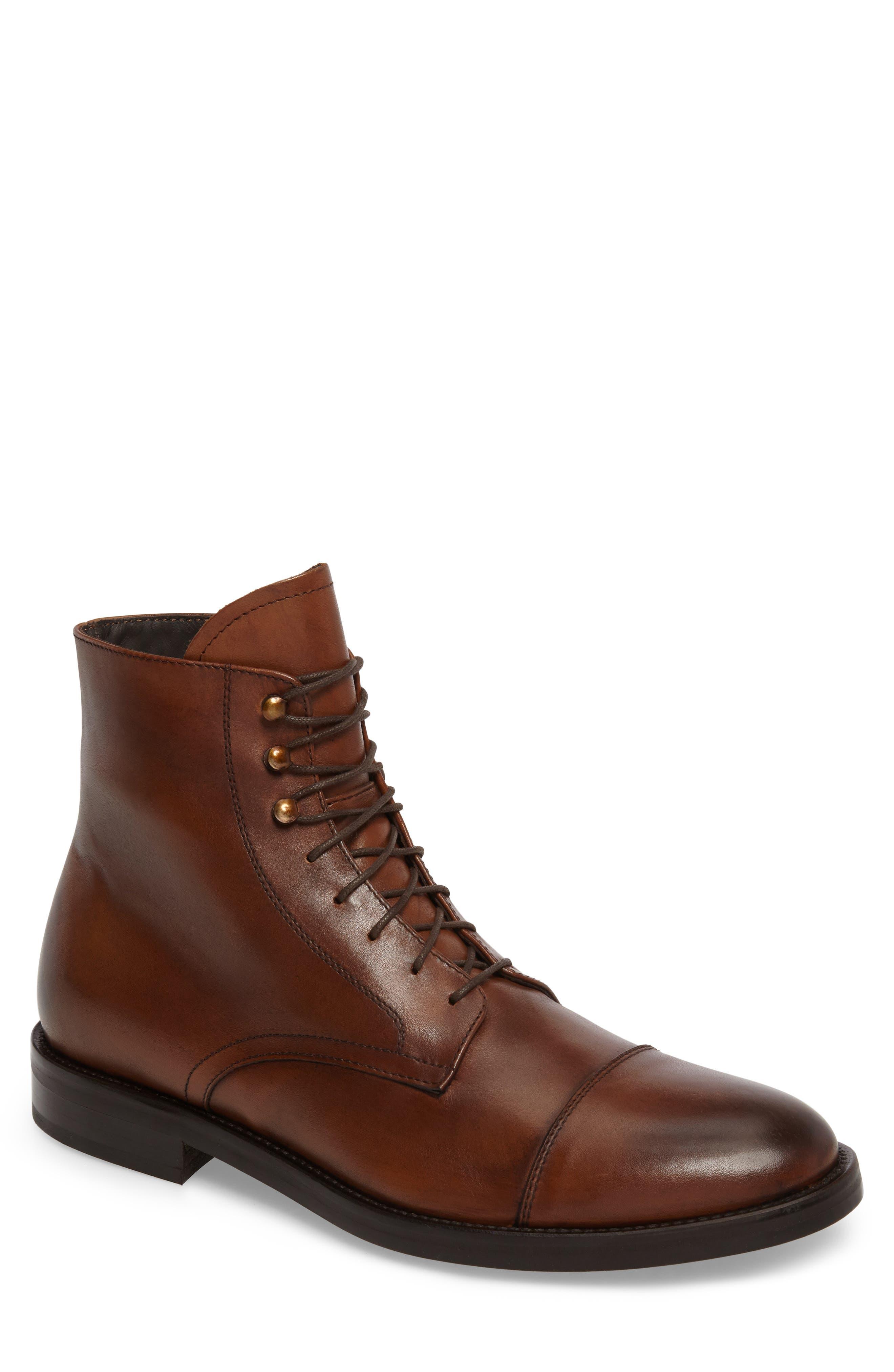 Henri Cap Toe Boot,                         Main,                         color, Cuoio Leather