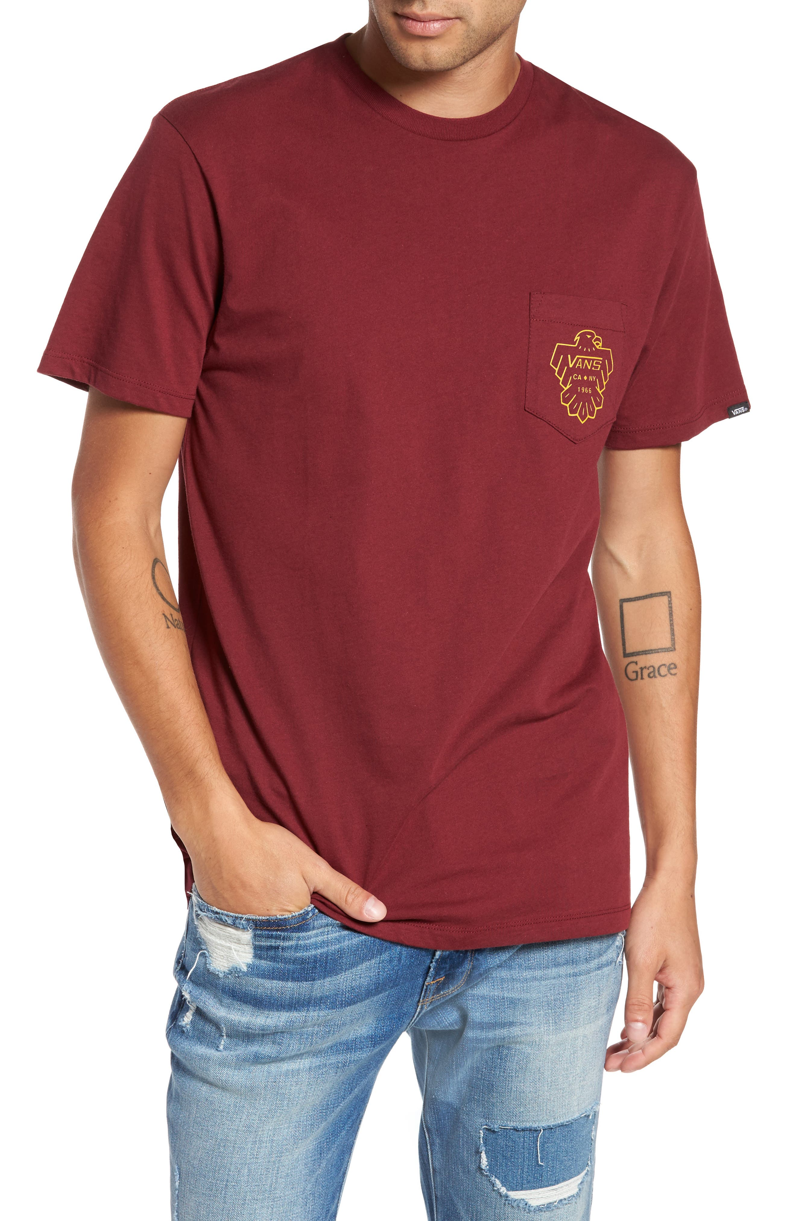 Thunderbird Graphic Pocket T-Shirt,                         Main,                         color, Burgundy