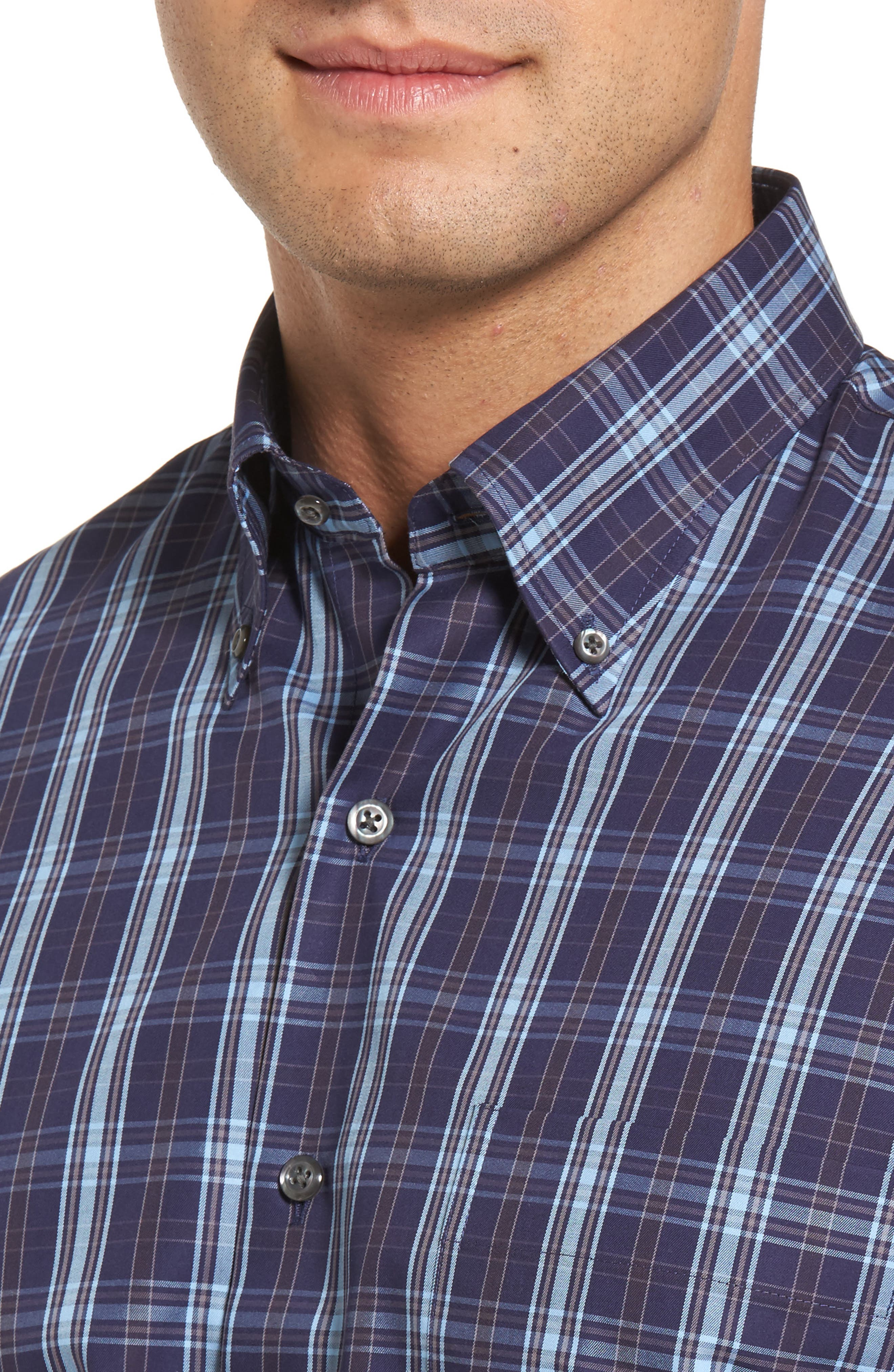 Alternate Image 4  - Peter Millar Regular Fit Blackfoot Plaid Sport Shirt