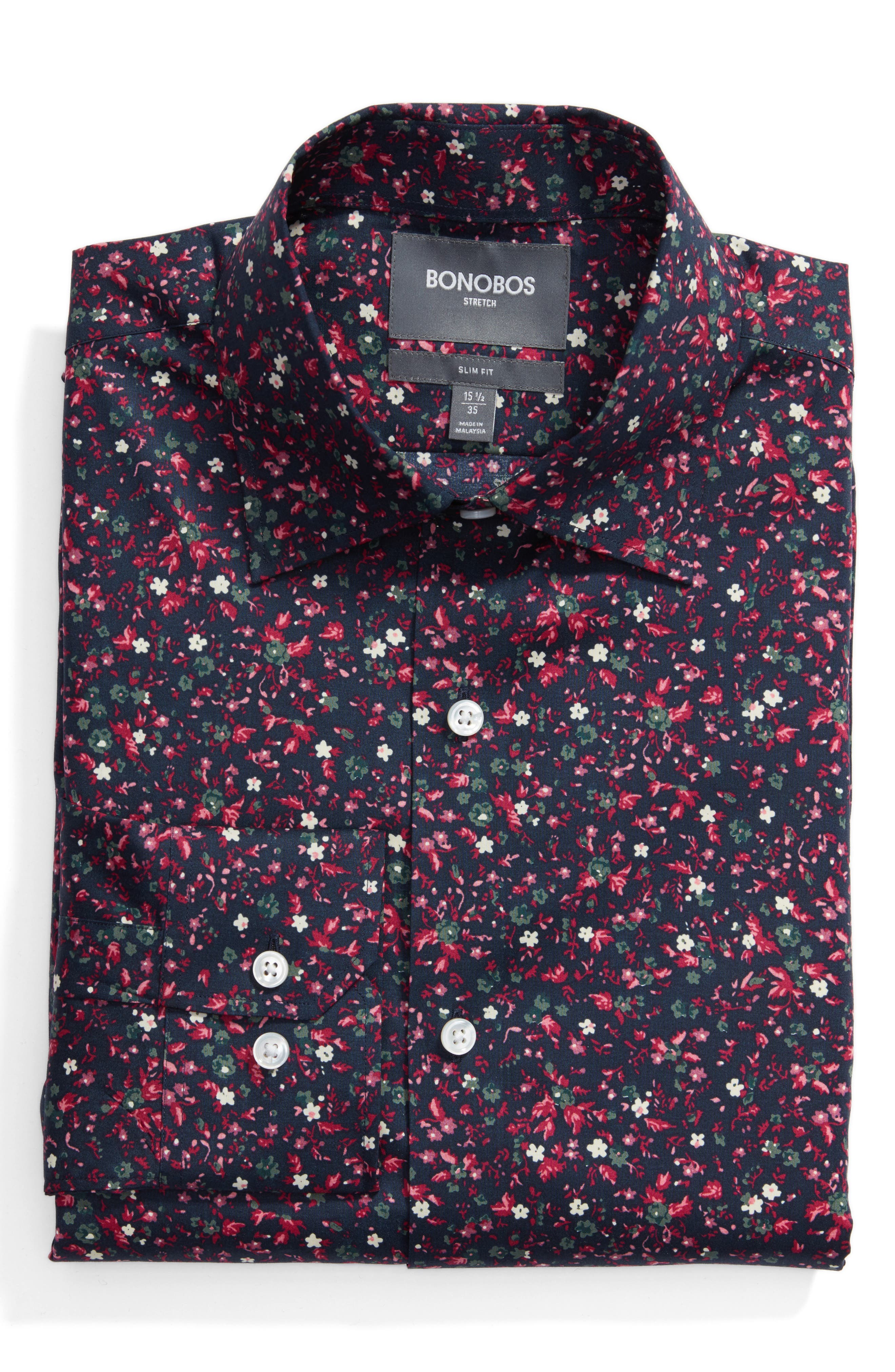 Mali Slim Fit Stretch Floral Dress Shirt,                         Main,                         color, Black Raspberry