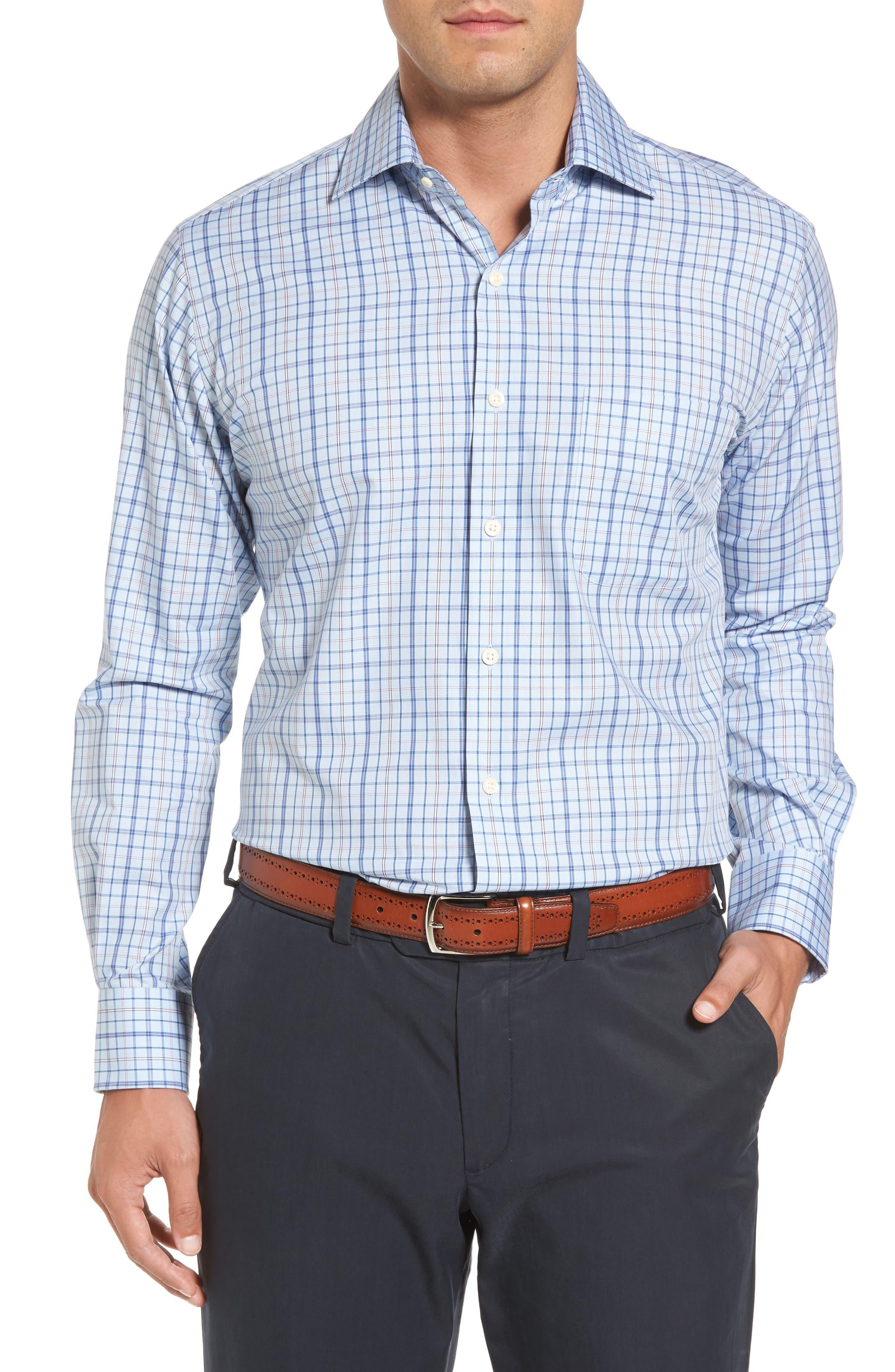 Coastland Regular Fit Plaid Sport Shirt,                         Main,                         color, Waters Edge