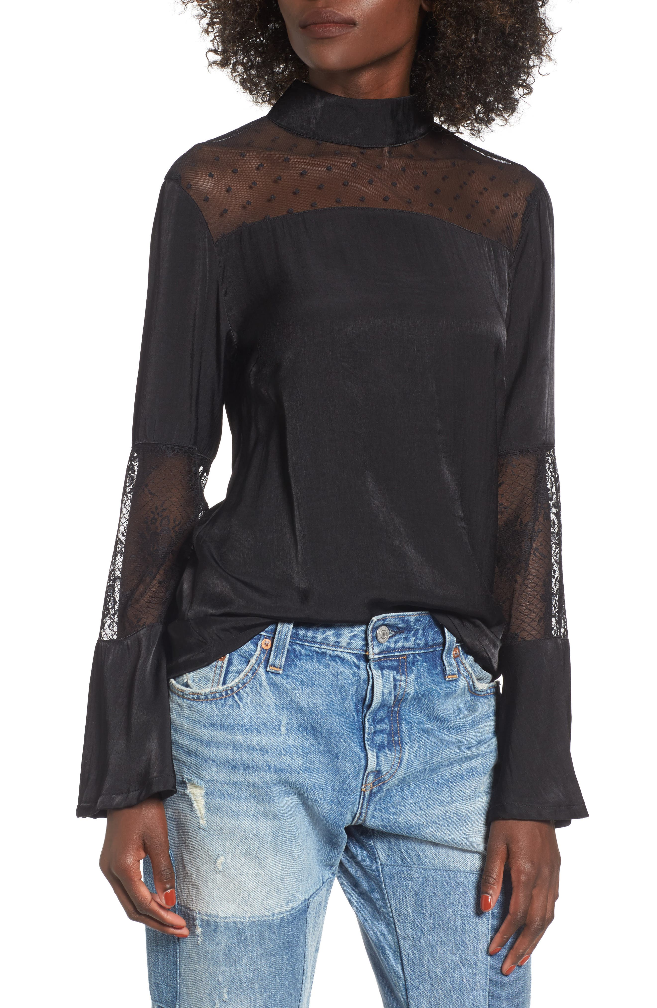 Starry Eyed Bell Sleeve Blouse,                         Main,                         color, Black