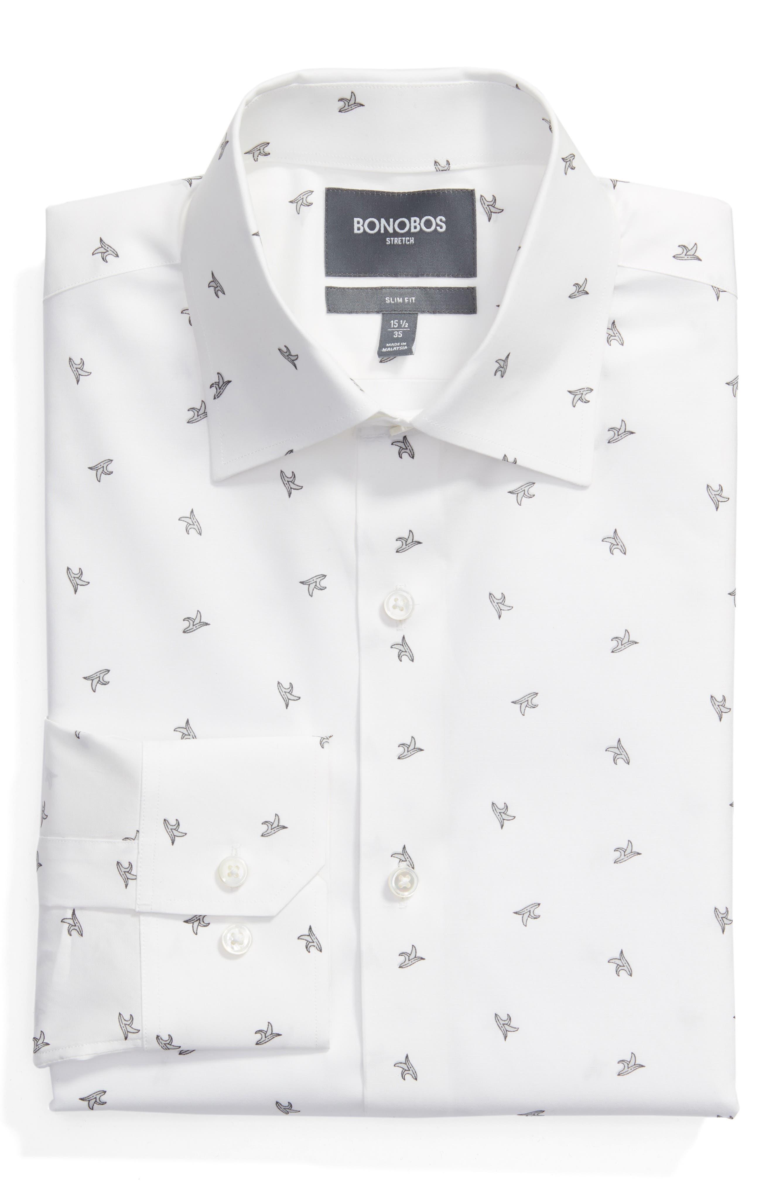 Slim Fit Banana Print Dress Shirt,                         Main,                         color, White
