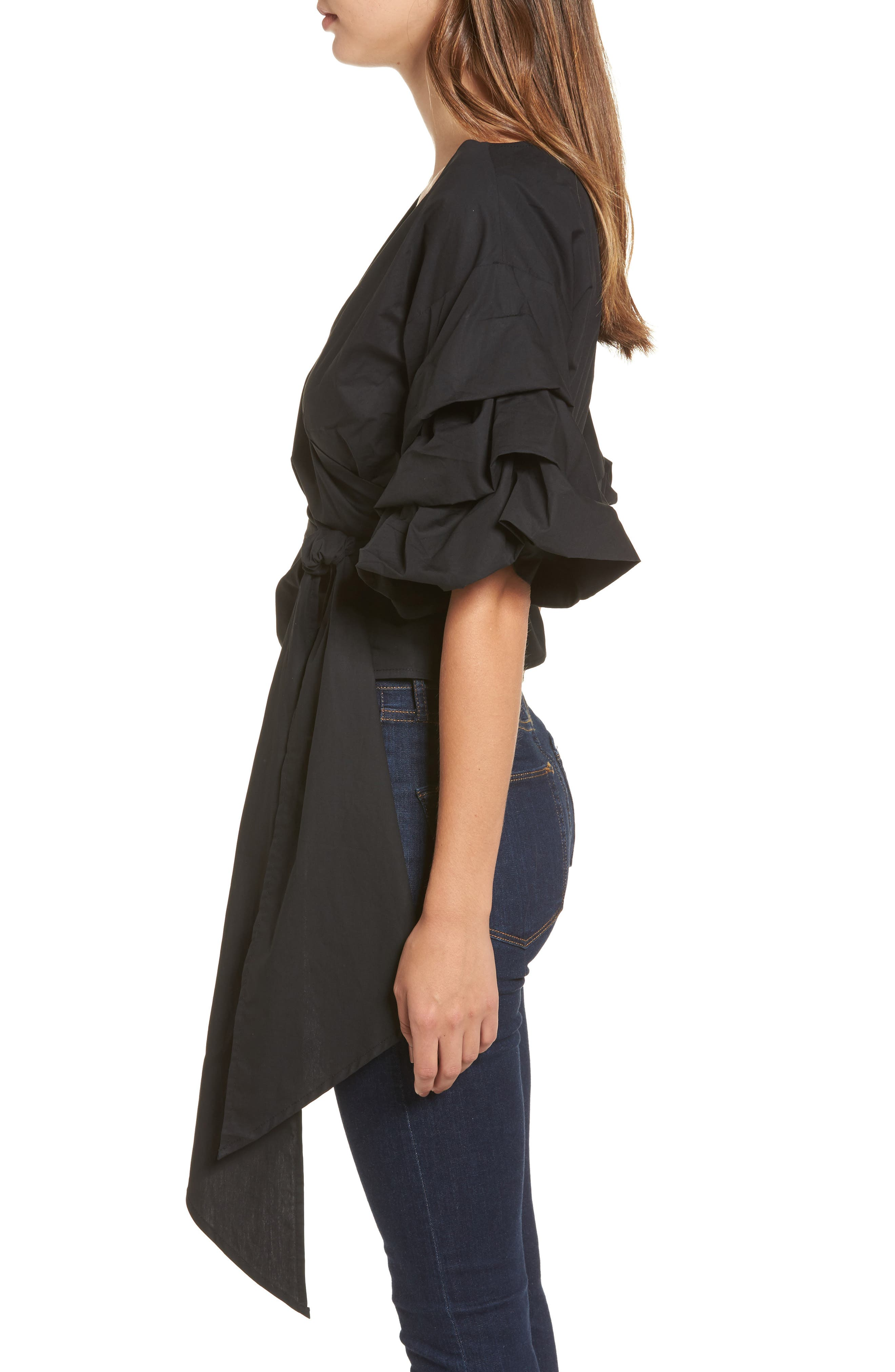 Esmerelda Wrap Top,                             Alternate thumbnail 3, color,                             Black