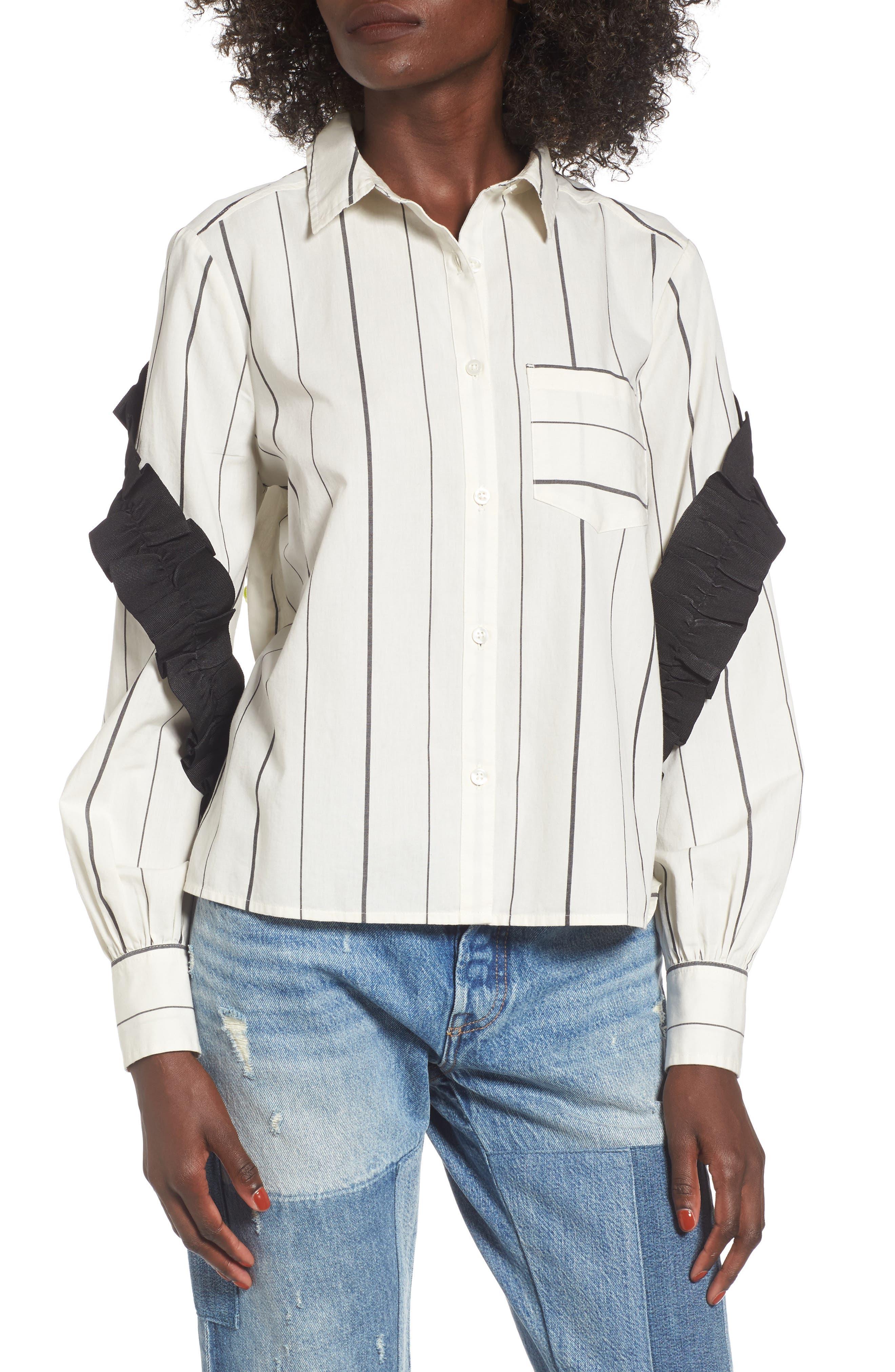 Grosgrain Ruffle Stripe Shirt,                             Main thumbnail 1, color,                             Ivory Egret Finn Stripe