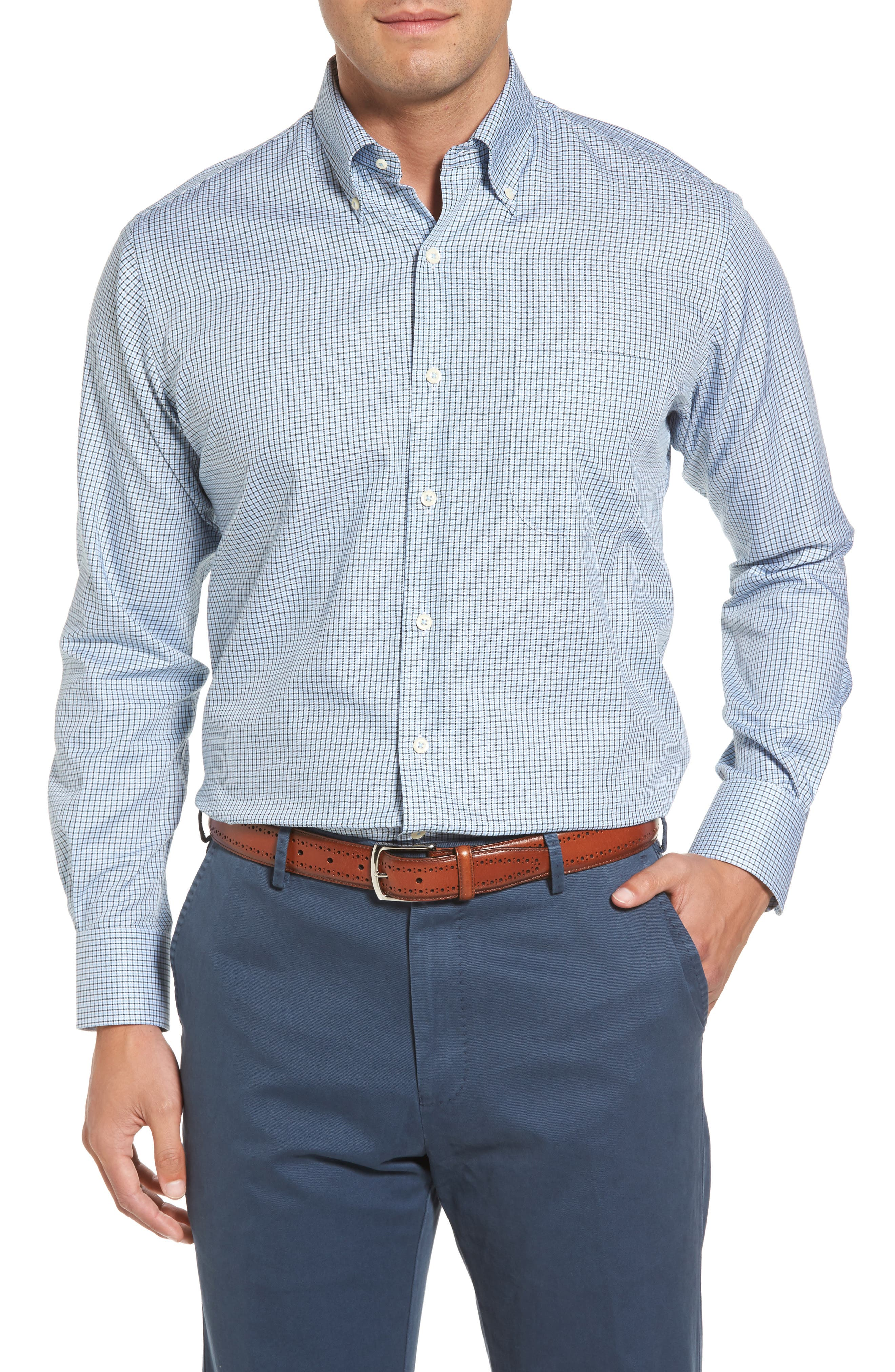 Elevation Regular Fit Check Sport Shirt,                         Main,                         color, Tahoe Blue