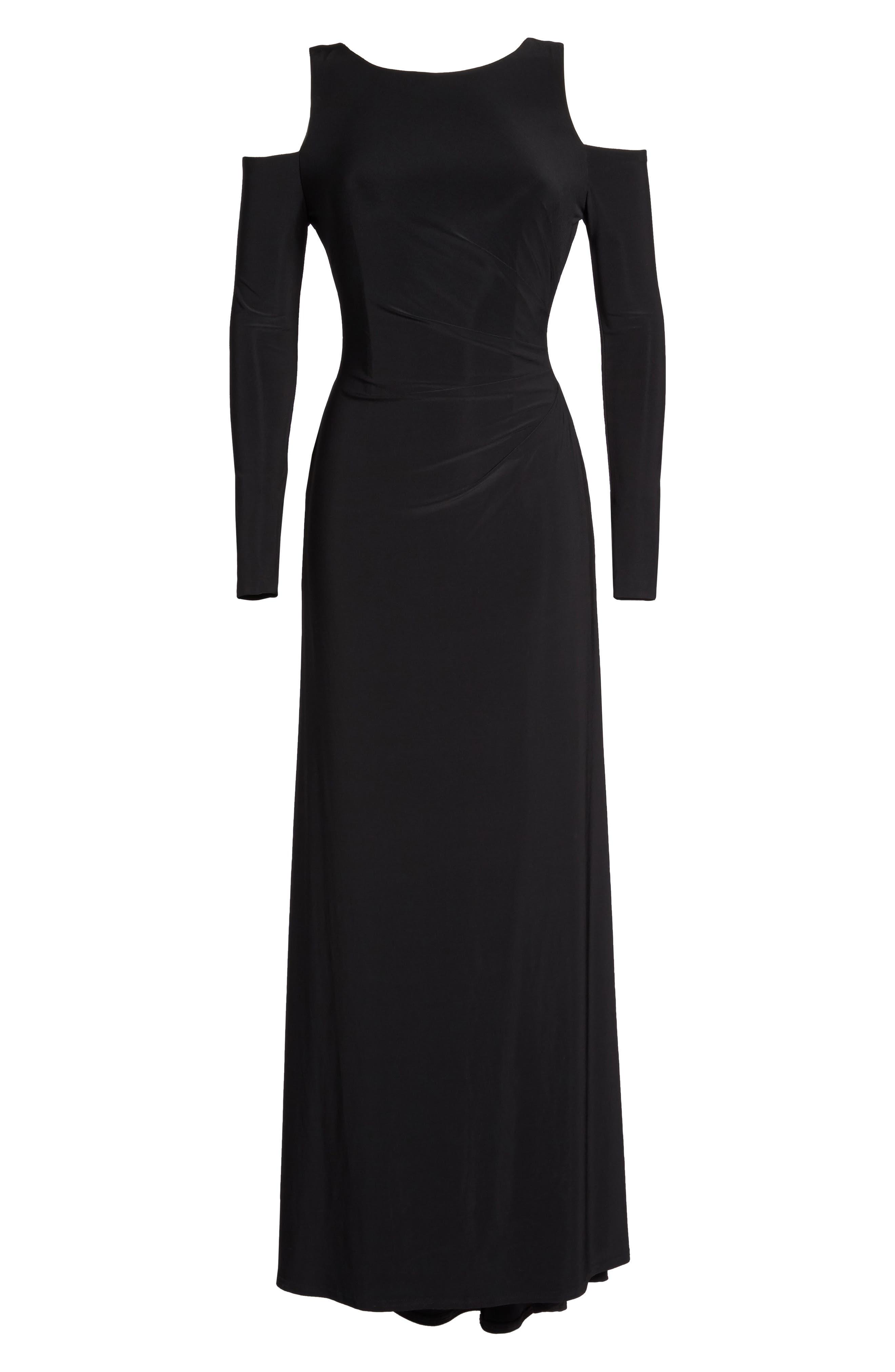 Cold Shoulder A-Line Gown,                             Alternate thumbnail 6, color,                             Black