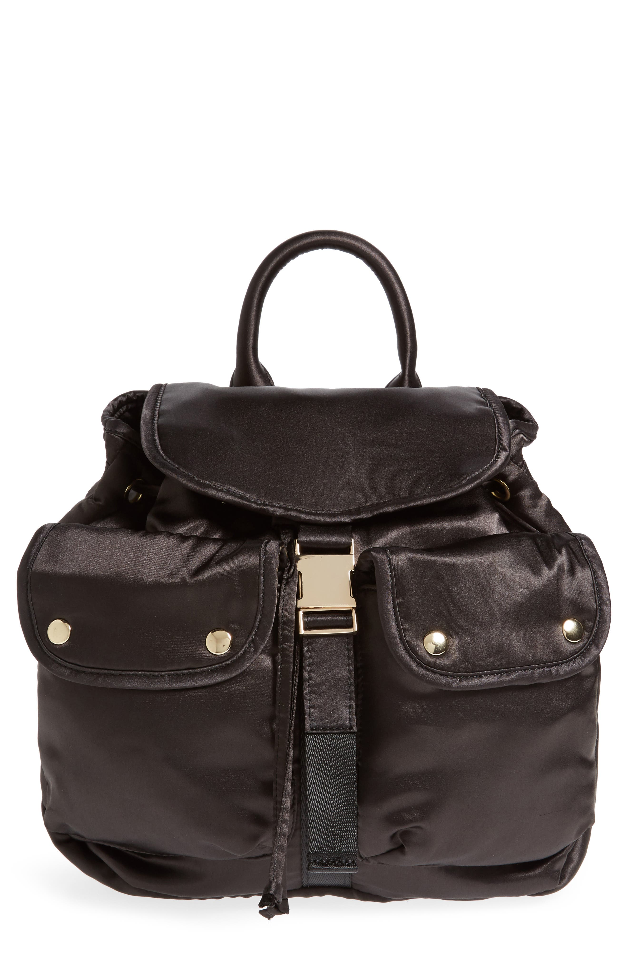 Small Satin Backpack,                             Main thumbnail 1, color,                             Black